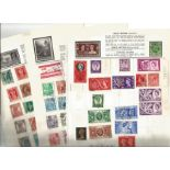 World stamp collection on 10 loose pages. Includes India, Iceland, Hong Kong, GB, Greece, Gold