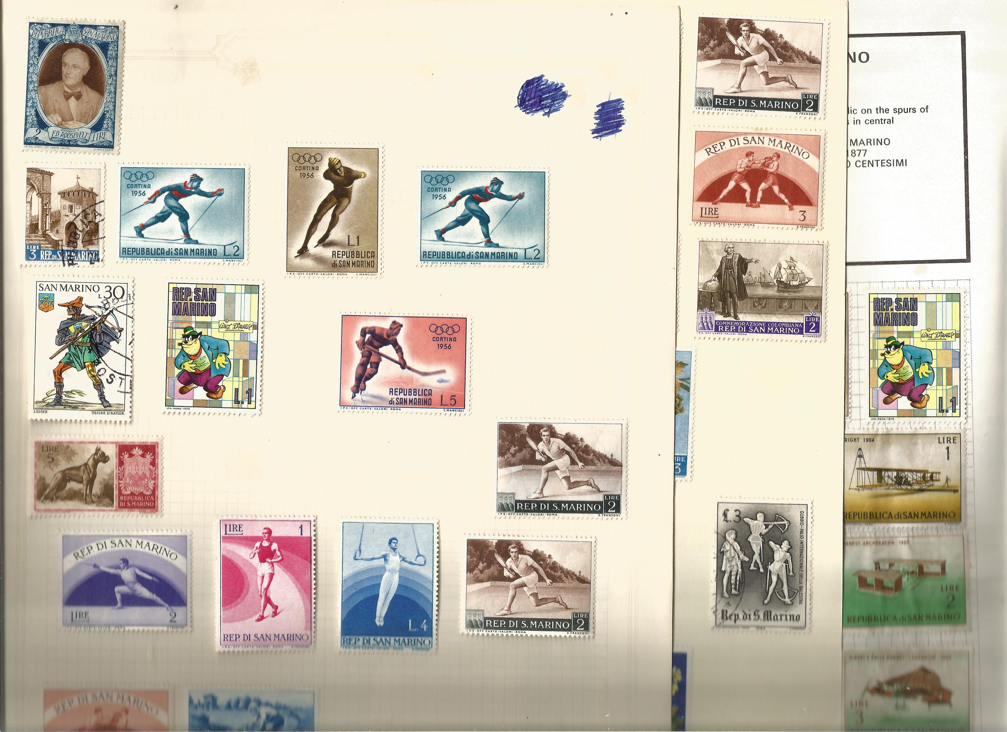 San Marino stamp collection on 13 loose pages. Good condition. We combine postage on multiple - Image 2 of 2