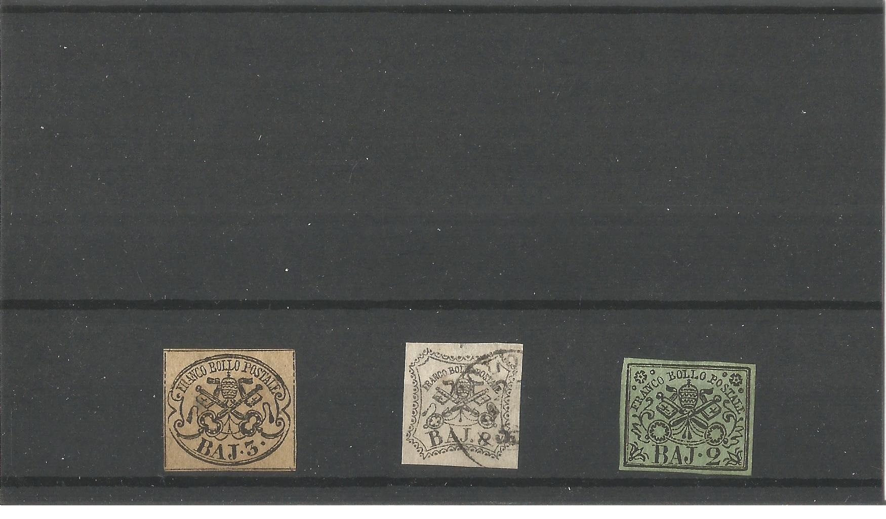 3 Papal states stamps on stockcard. Good condition. We combine postage on multiple winning lots