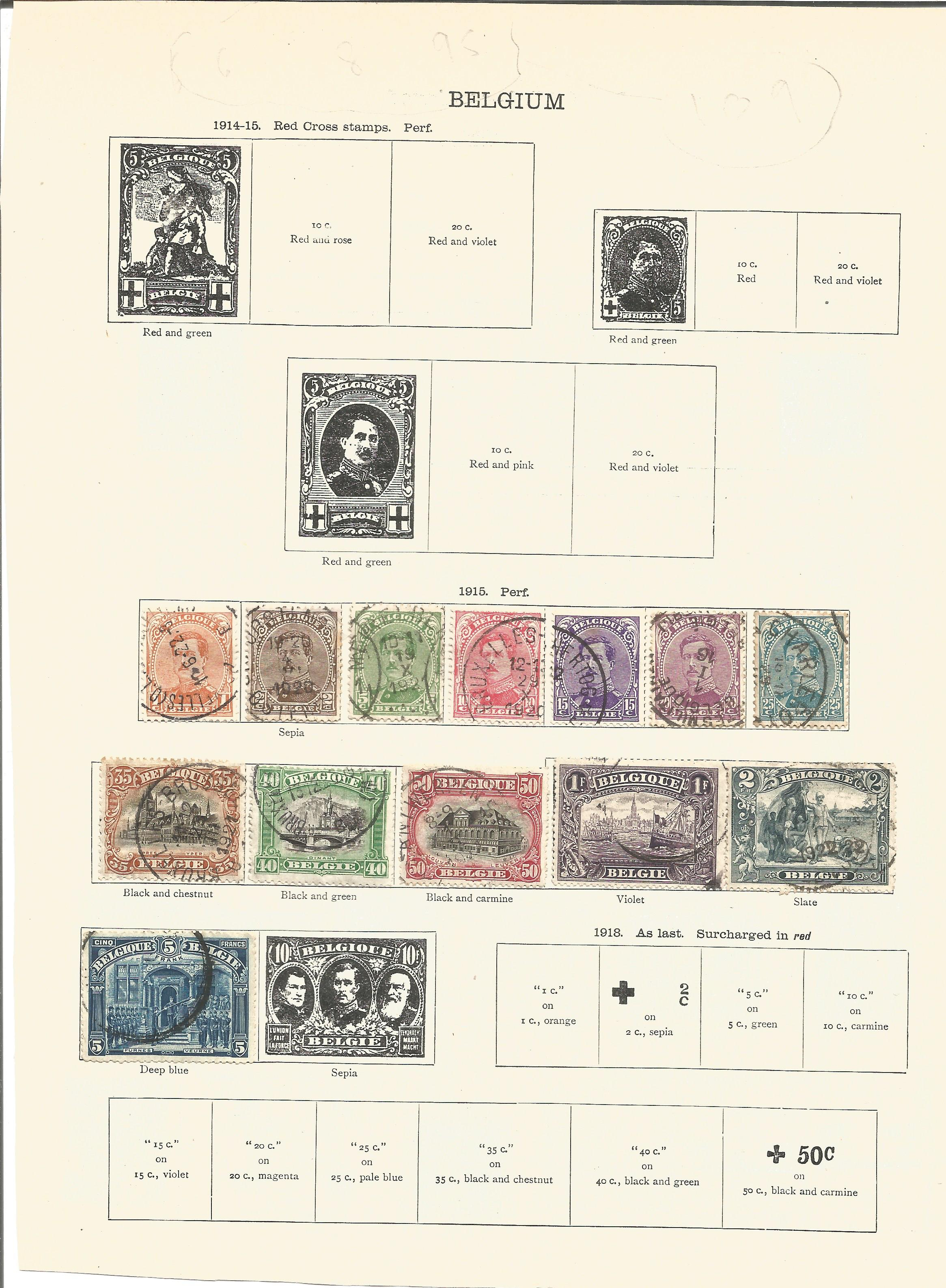 8 loose album pages of stamps from around 1920 including Belgium and Belgian Congo. Good