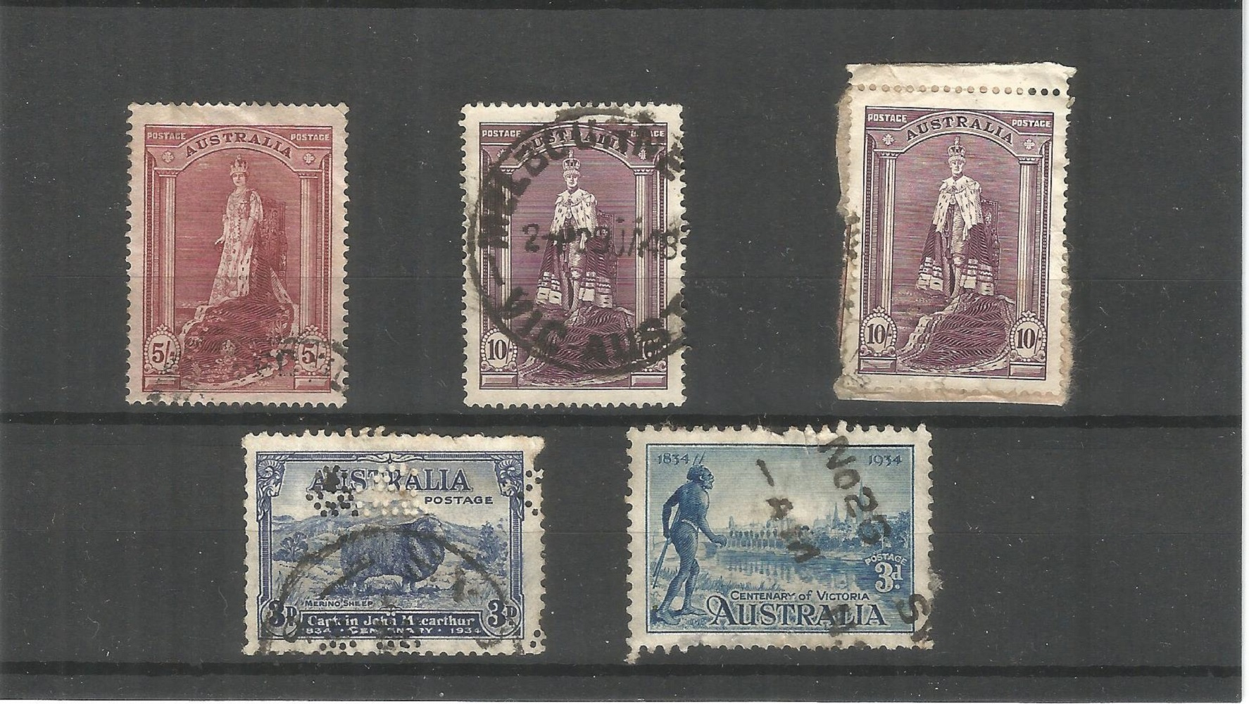 Australian stamp collection on stock card. 5 stamps. Cat value £60. 1937 defs 5/= and 10/=, 1934