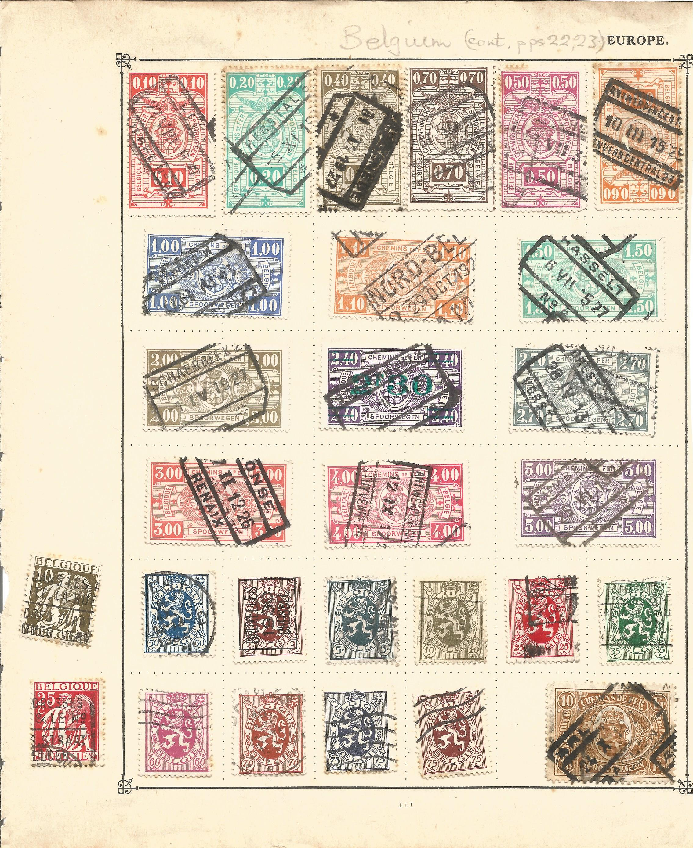 European stamp collection on 7 pages. Includes Belgium, Holland, Hungary. Good condition. We combine