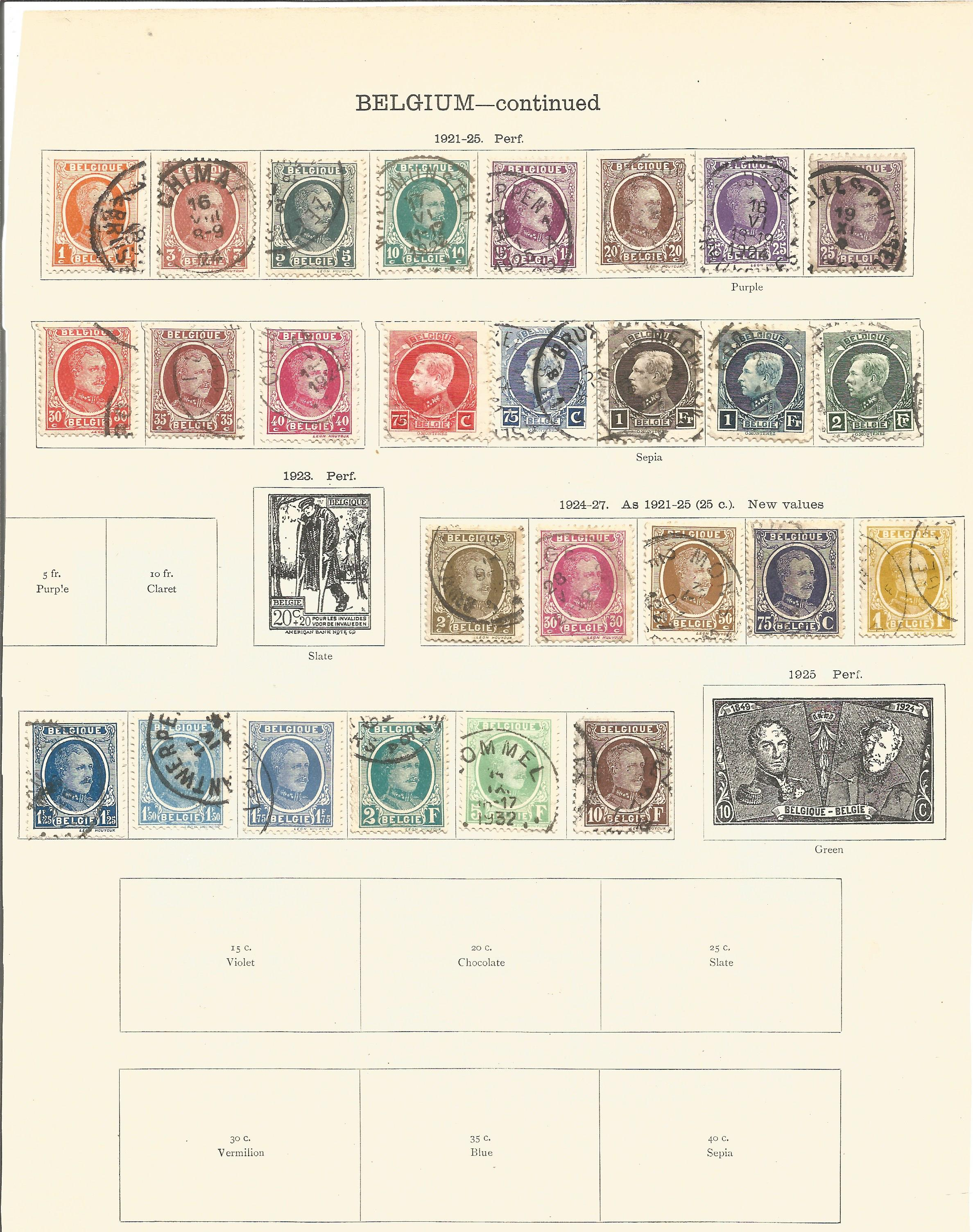 8 loose album pages of stamps from around 1920 including Belgium and Belgian Congo. Good - Image 2 of 2