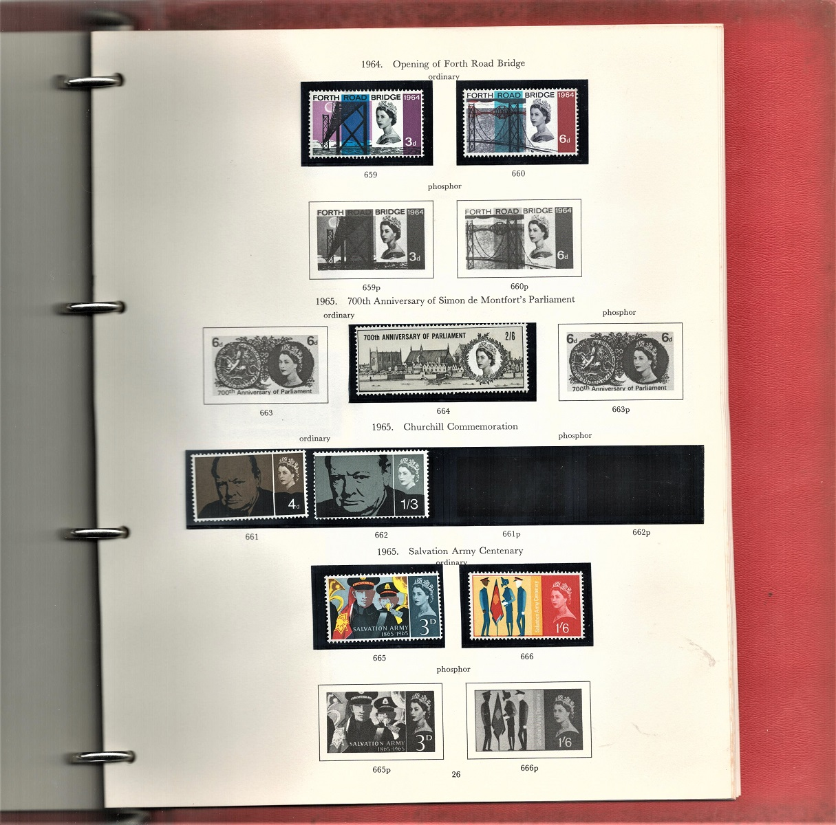 GB stamp album containing mint stamps. Some unmounted. QEII 1955/1968. Includes phosphor issue 3d/ - Image 2 of 3