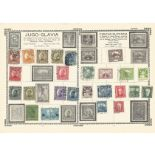 9 loose pages from old collection containing stamps from Yugoslavia, Poland, Russia and Hungary.