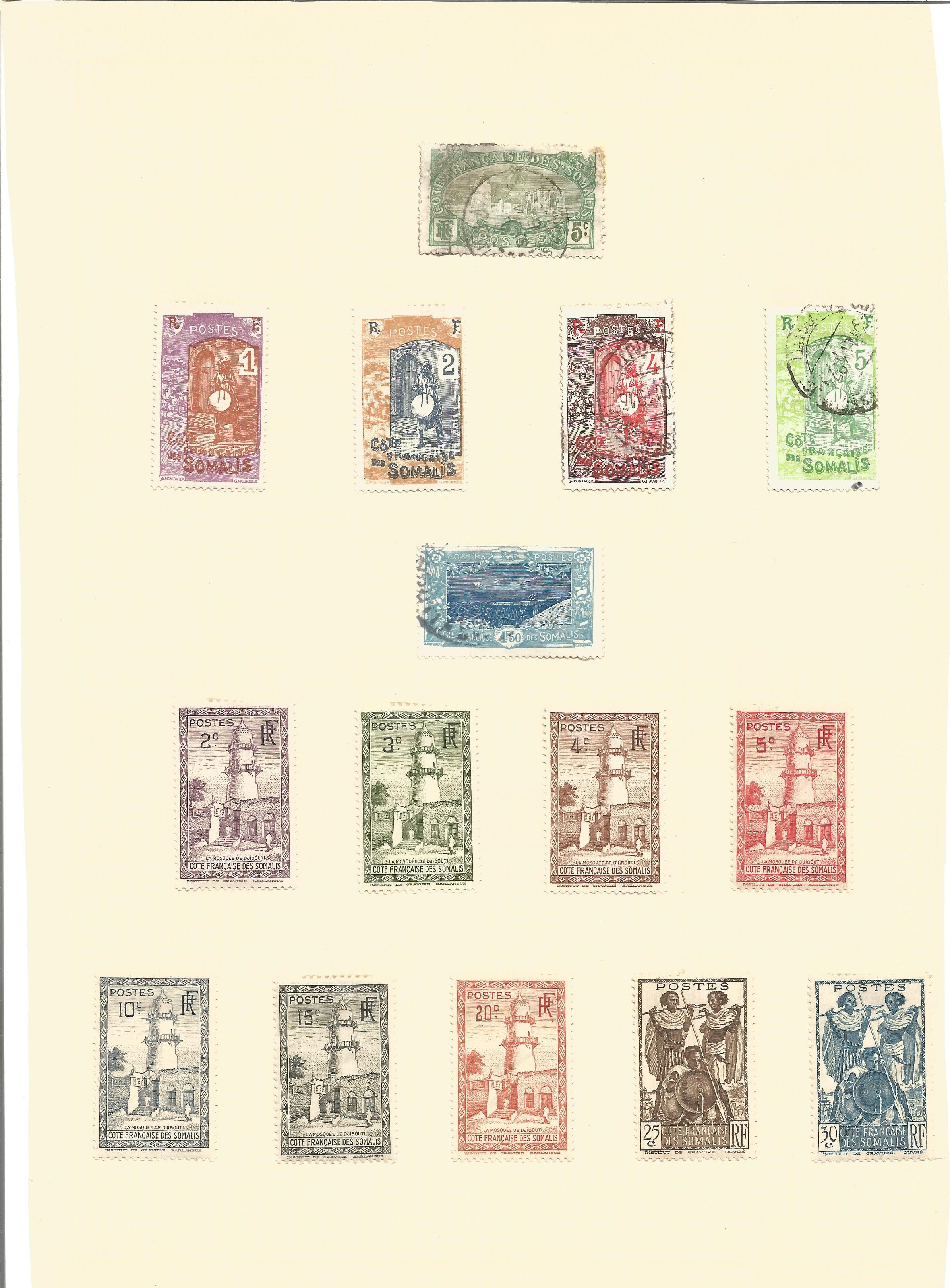 Assorted stamp collection on 7 loose album pages. Includes stamps from Somalia occidental,