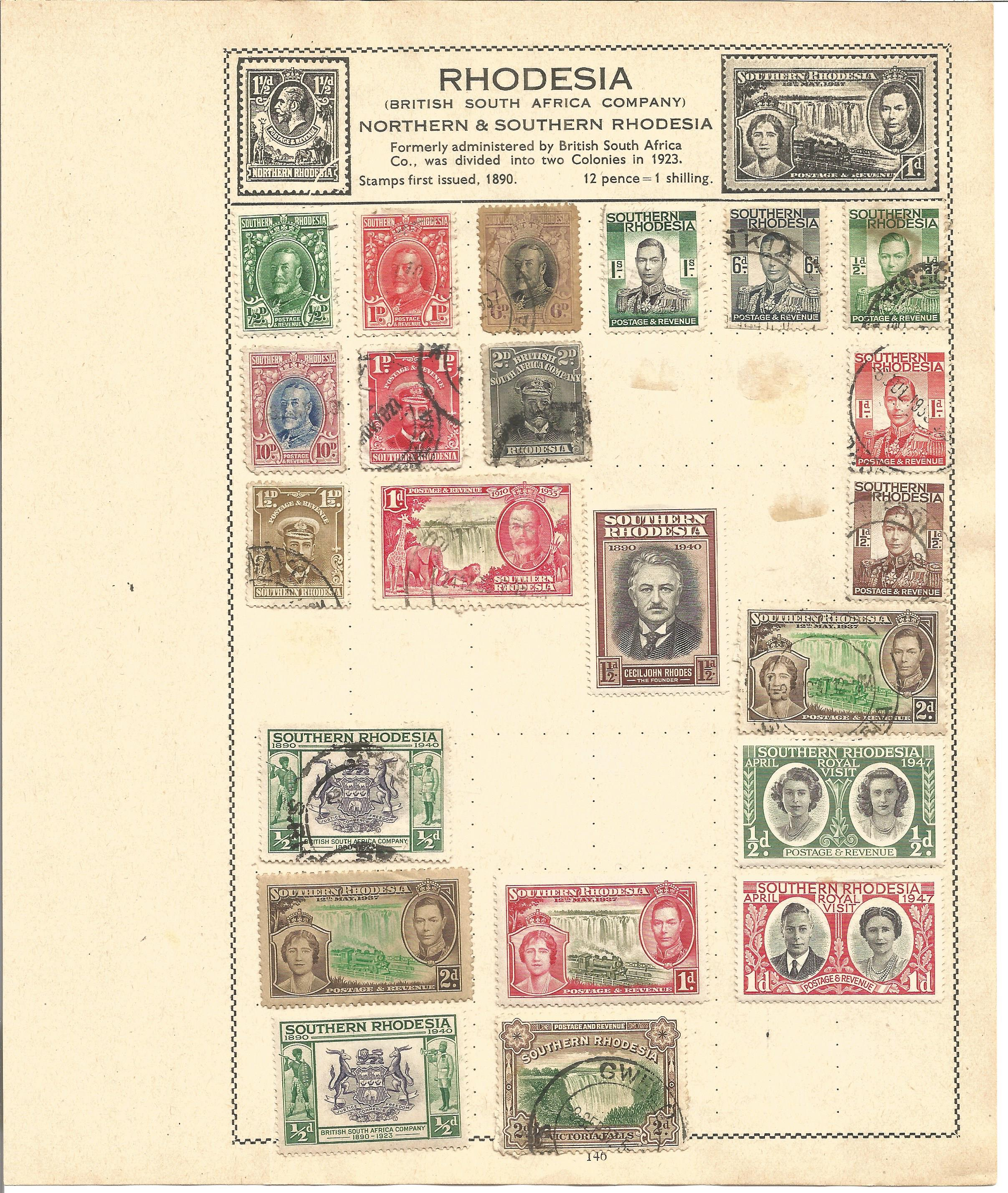 British Commonwealth stamp collection 7 loose album leaves countries include North Borneo, - Image 3 of 3