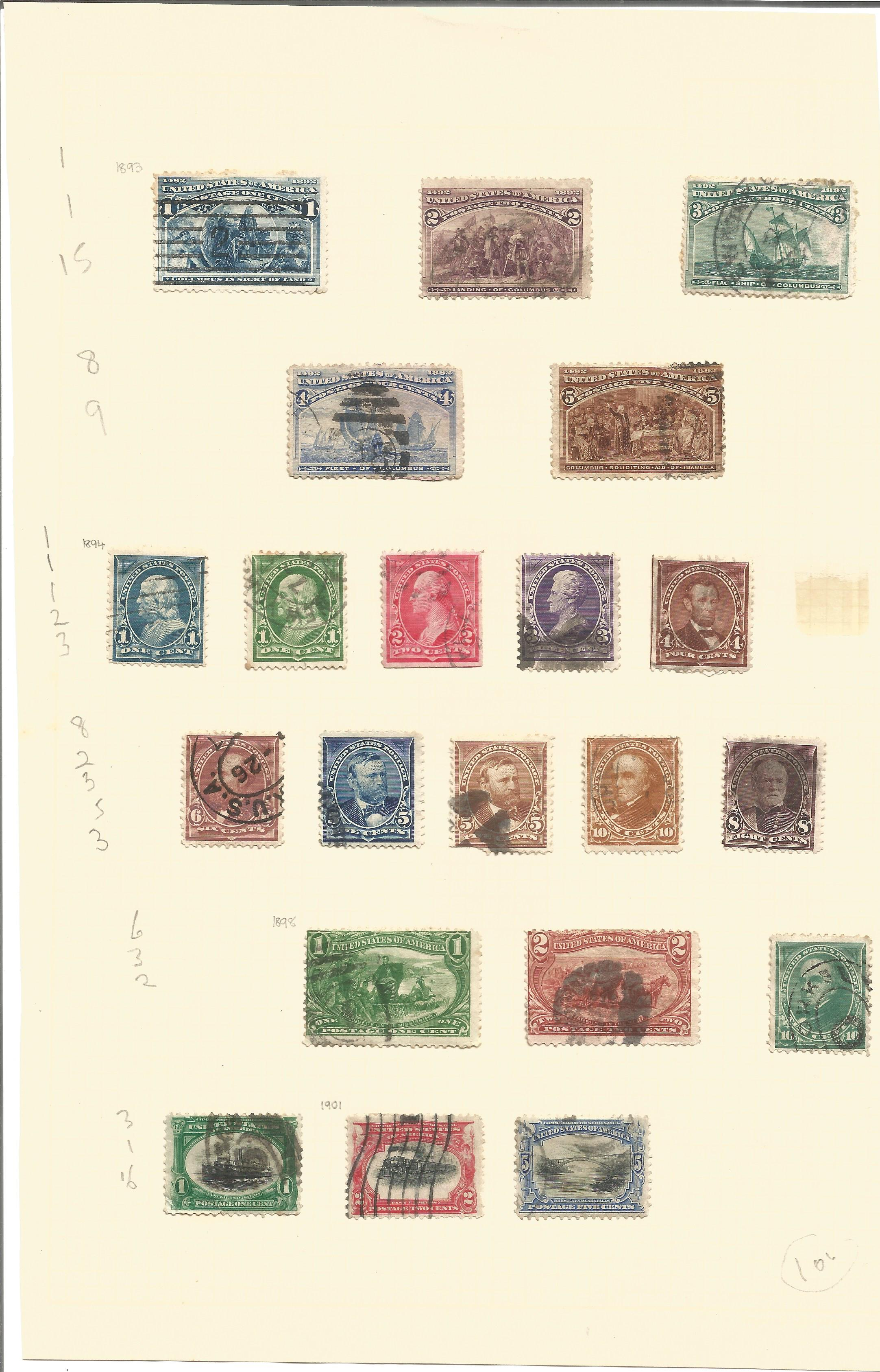 USA stamp collection. 1893/1901. Good condition. We combine postage on multiple winning lots and can