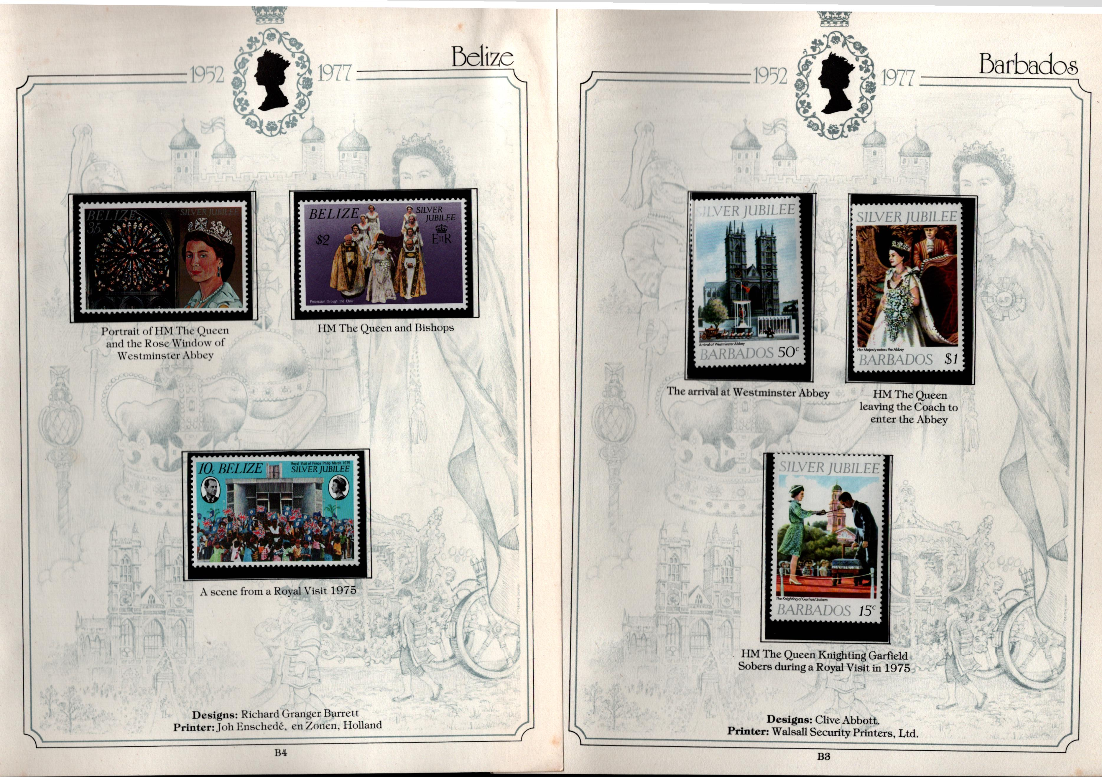 Omnibus issues 7/2/1977 silver jubilee stamp collection in special album. 75 stamps and 1
