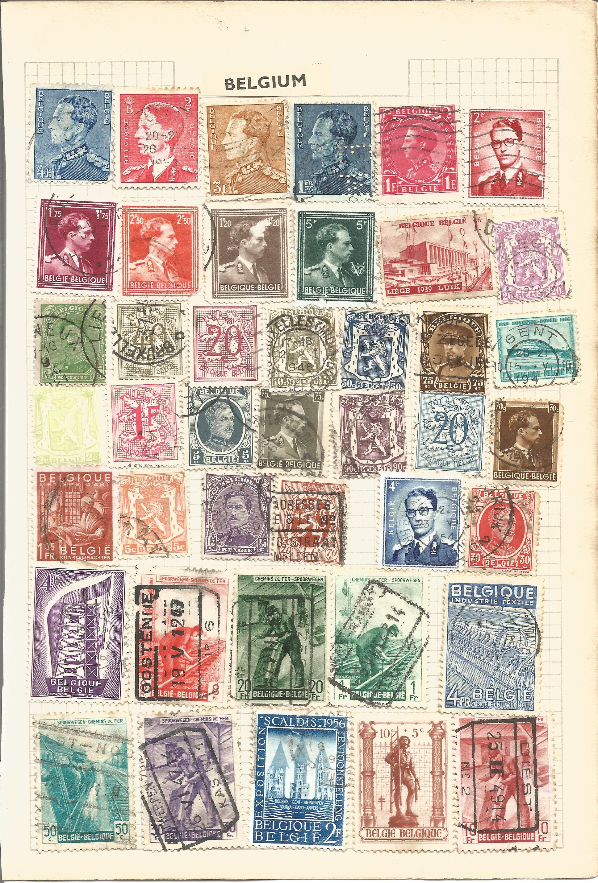 European stamp collection on 8 loose album pages. Contains Belgium, Greece, Italy, Denmark and - Image 2 of 3