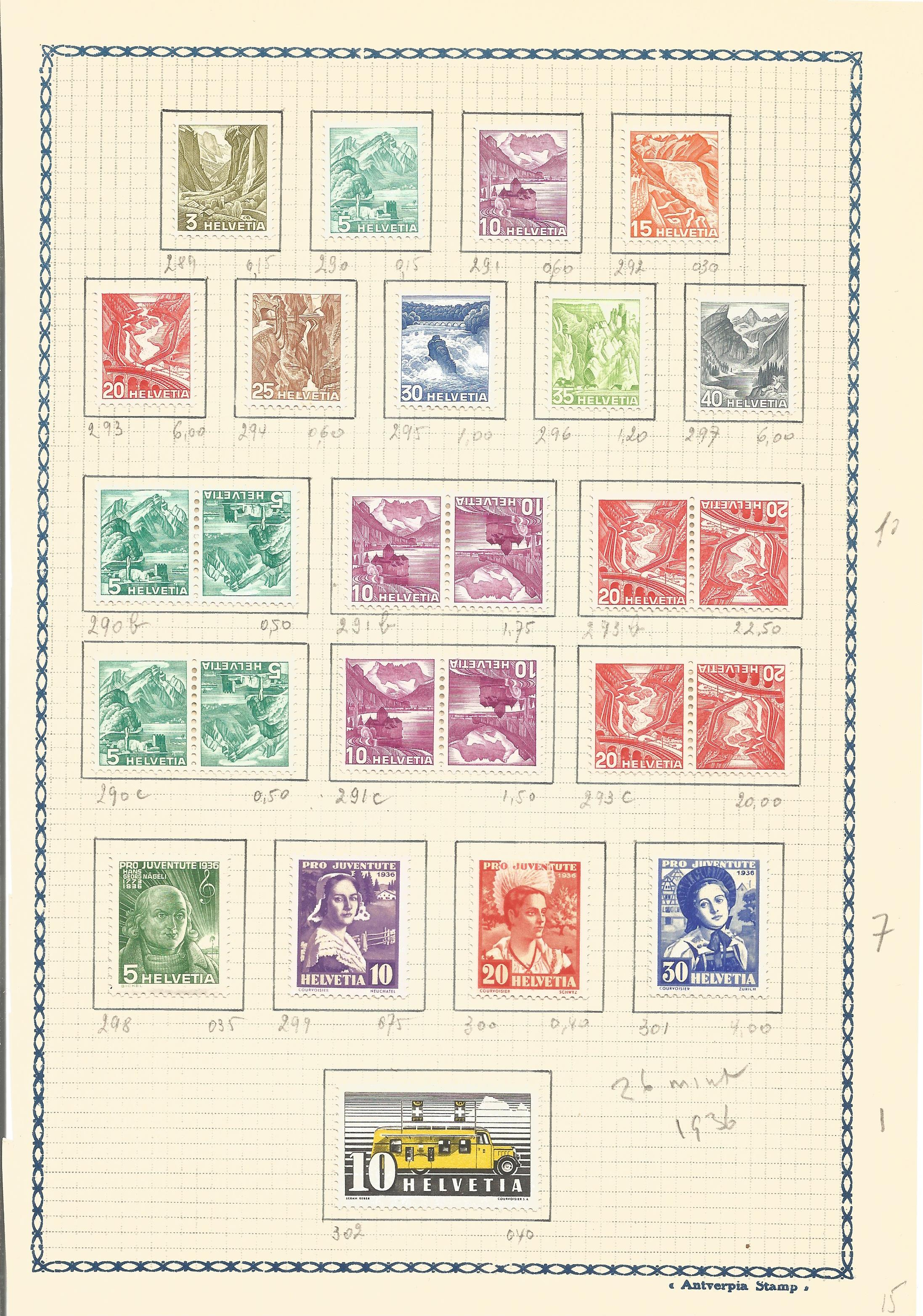 Swiss mint stamp collection. 26 stamps. 1936. Good condition. We combine postage on multiple winning