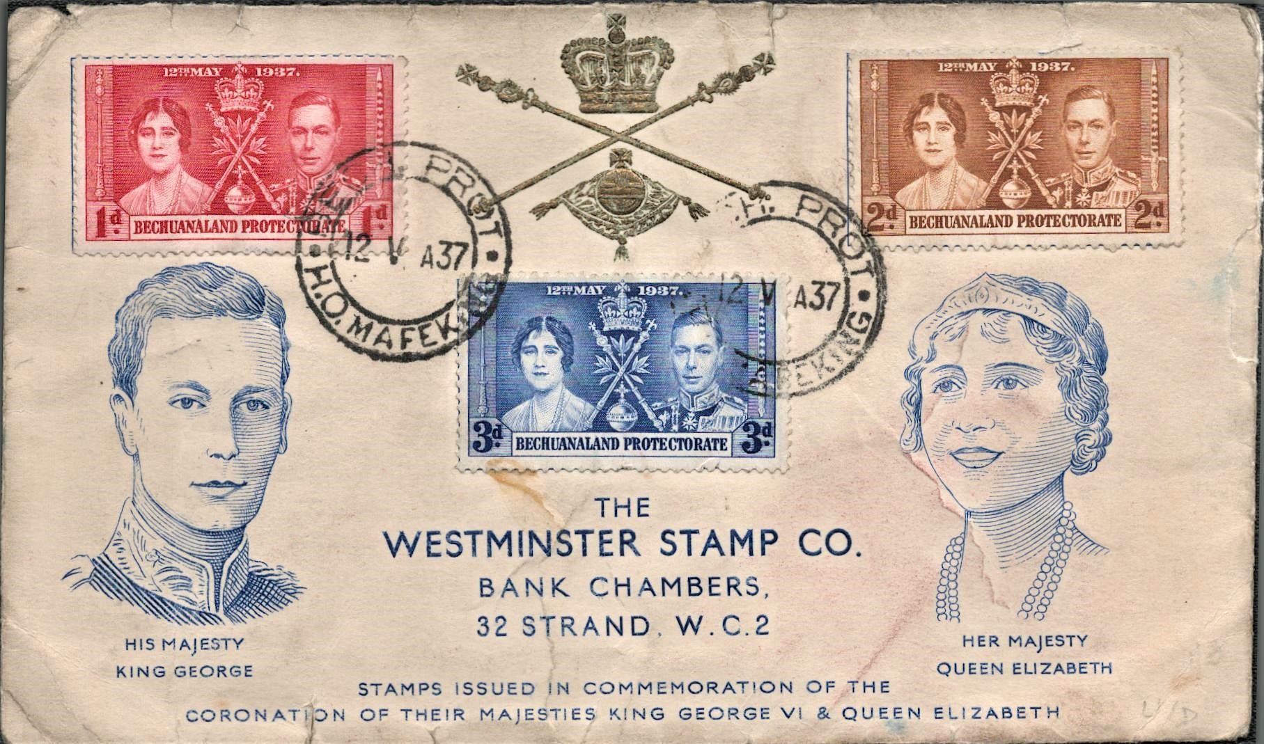 Bechuanaland protectorate FDC. 1937 coronation. High value. Good condition. We combine postage on