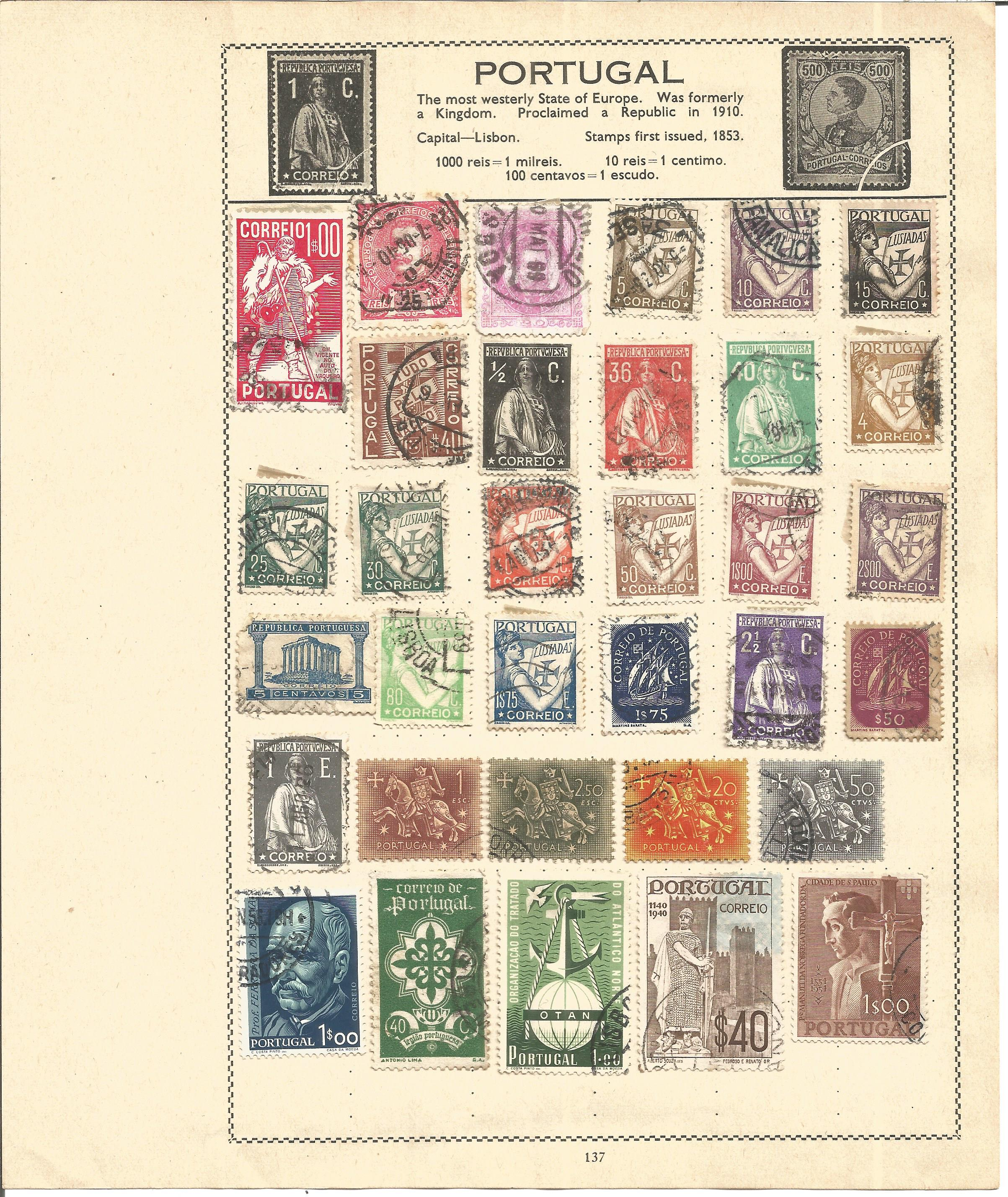 European stamp collection 6 loose album pages countries include Portugal and the Portuguese