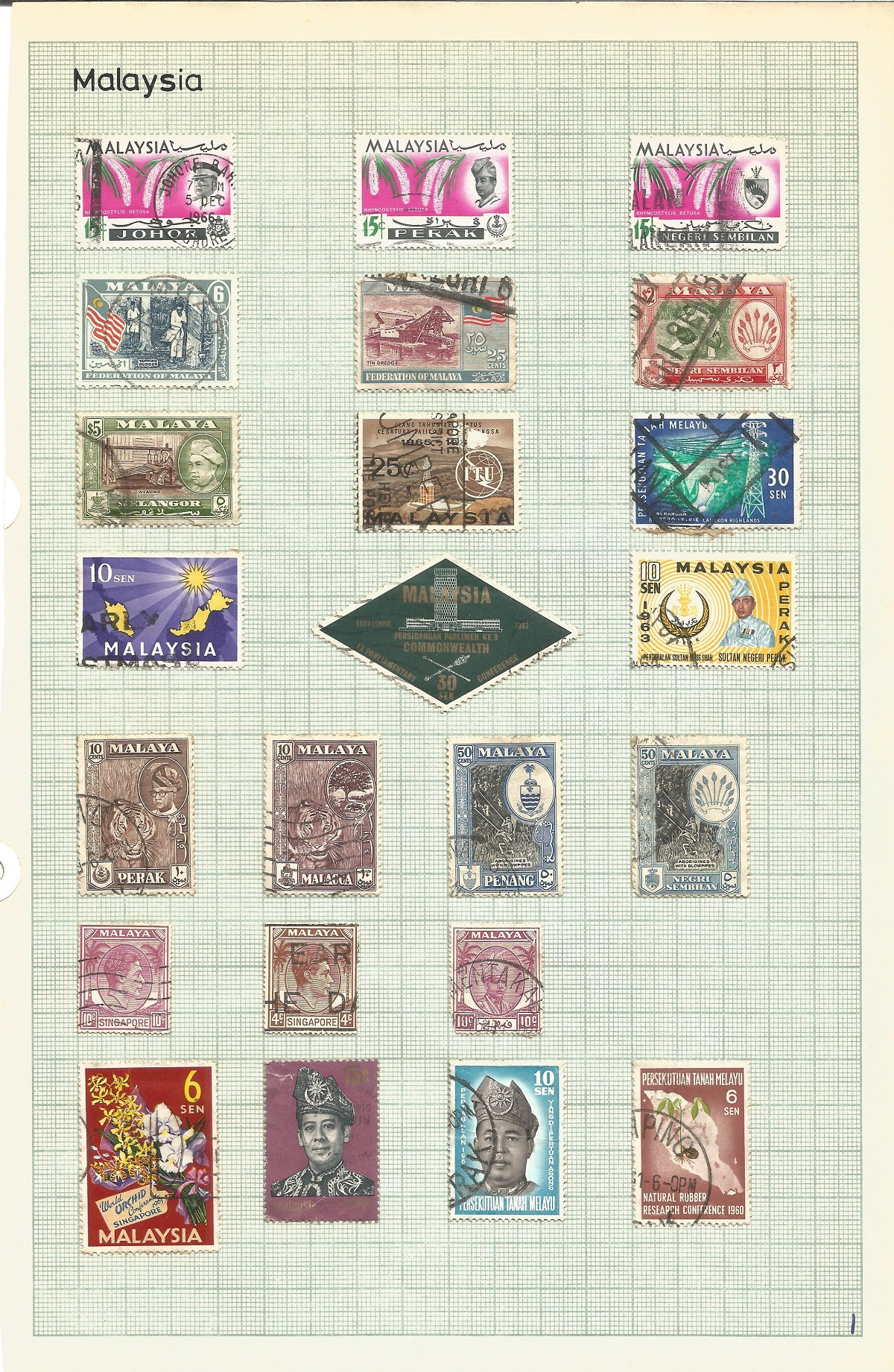 BCW stamp collection on 7 pages. Includes Ireland, Malaysia, Malta, South Africa. Good condition. We