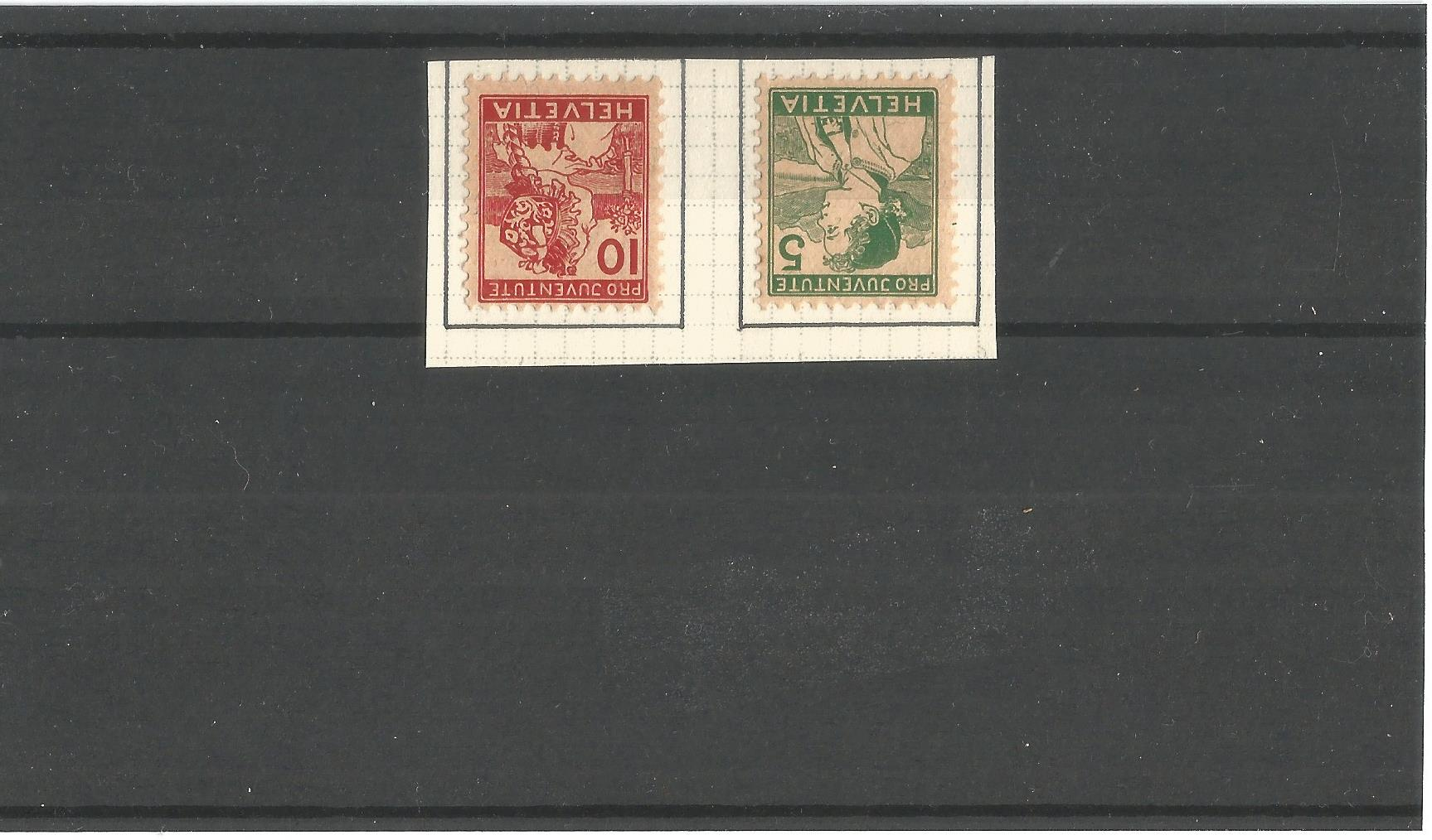 Swiss 1915 children's fund, projuventive charity stamps. Mint 5c and 10c. Good condition. We combine