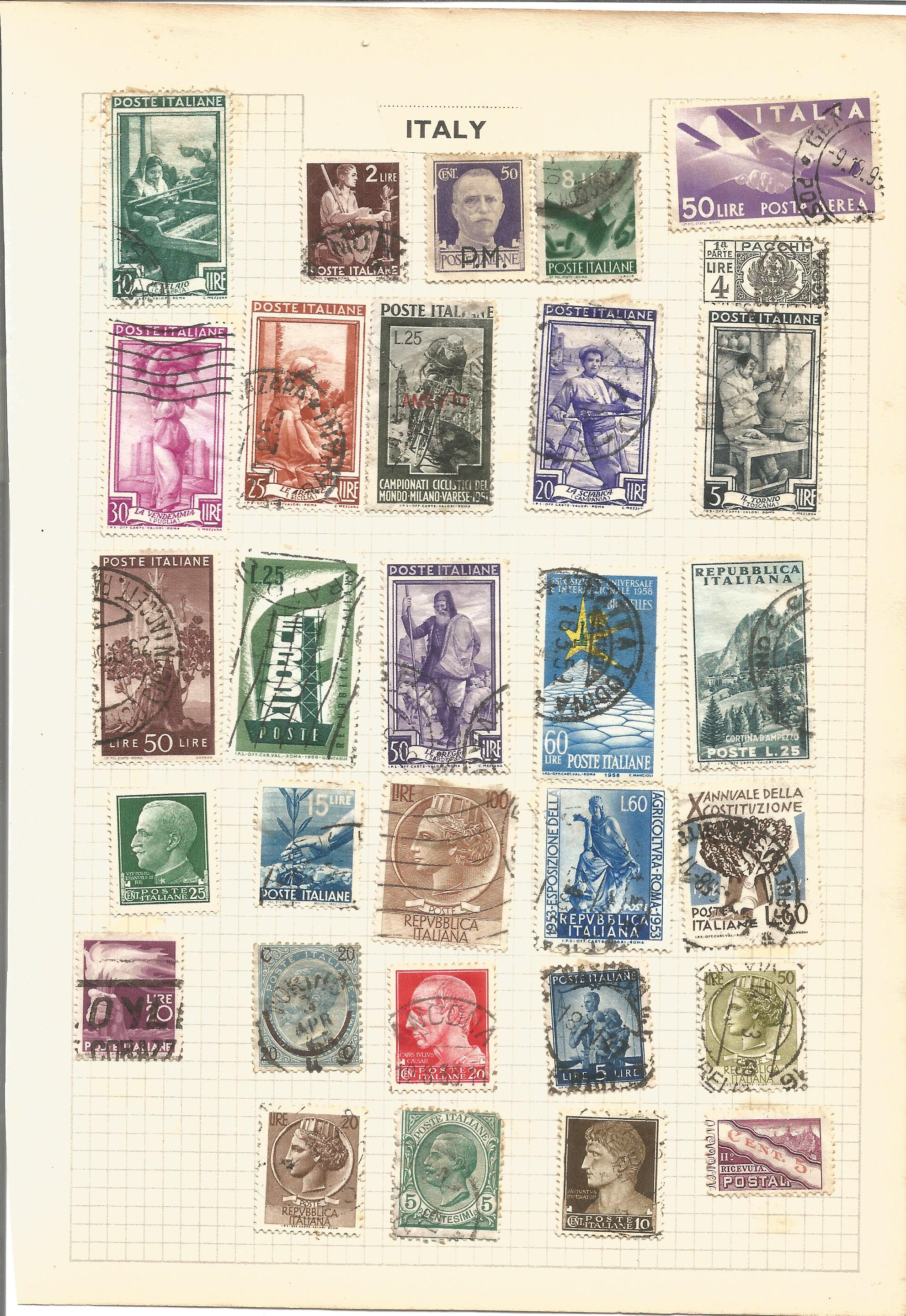 European stamp collection on 8 loose album pages. Contains Belgium, Greece, Italy, Denmark and - Image 3 of 3