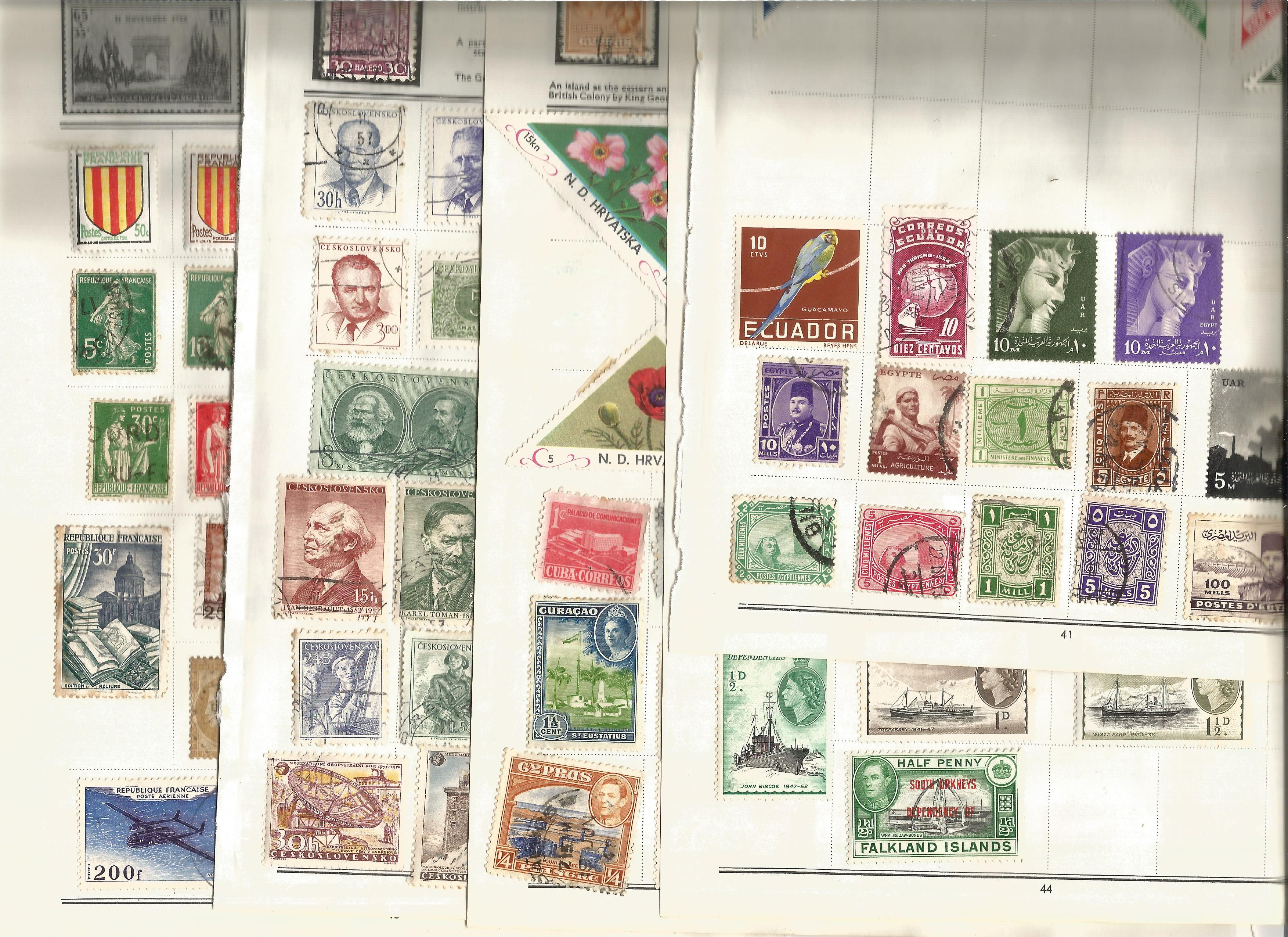 World stamp collection on 11 loose pages. Includes France, Falkland Islands, Ireland, Egypt,
