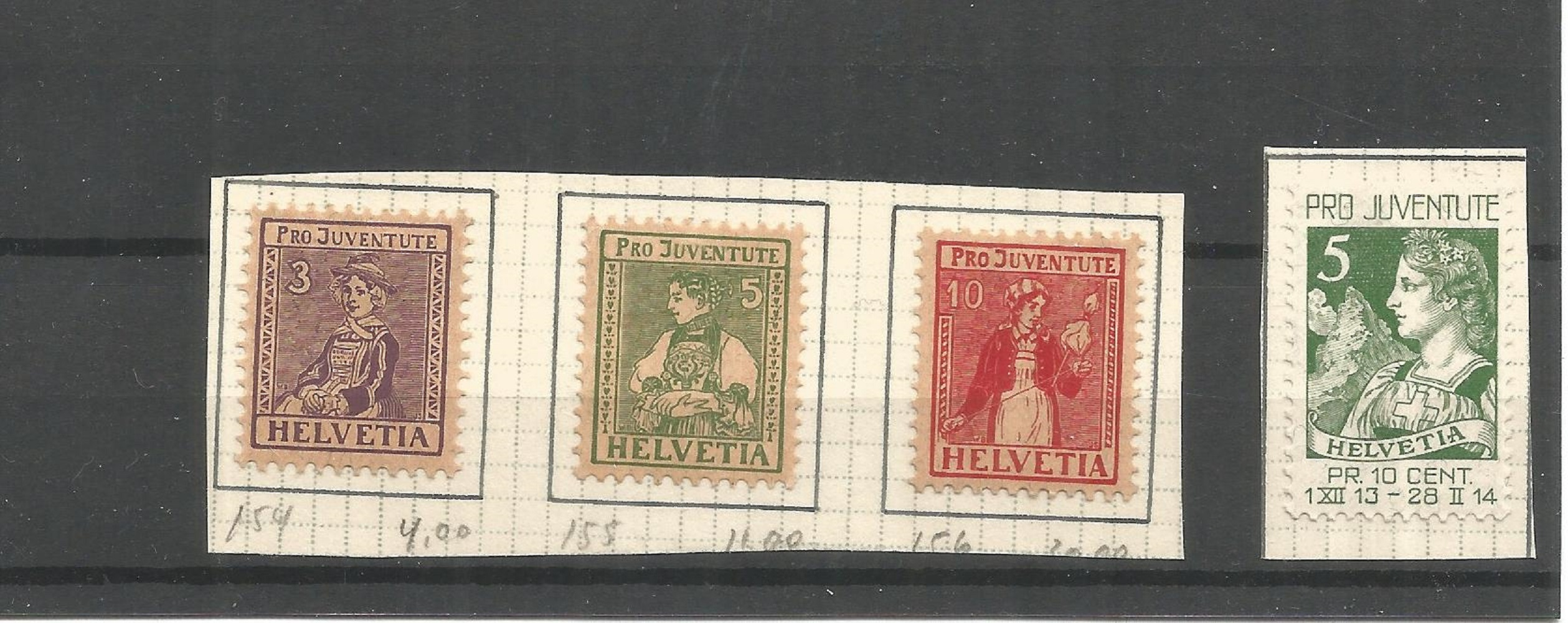 Swiss stamp collection. Childrens fund, projuventute charity stamps. All mint. 1913 J/1, 1917 J/6-