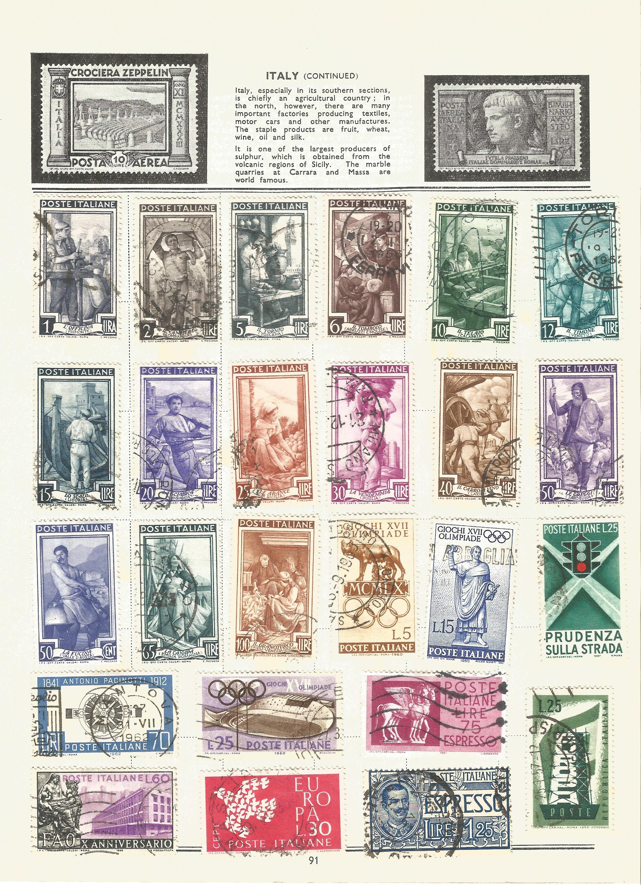 Foreign stamp collection on 16 loose album pages. Includes Italy, Netherlands, Norway, Portugal