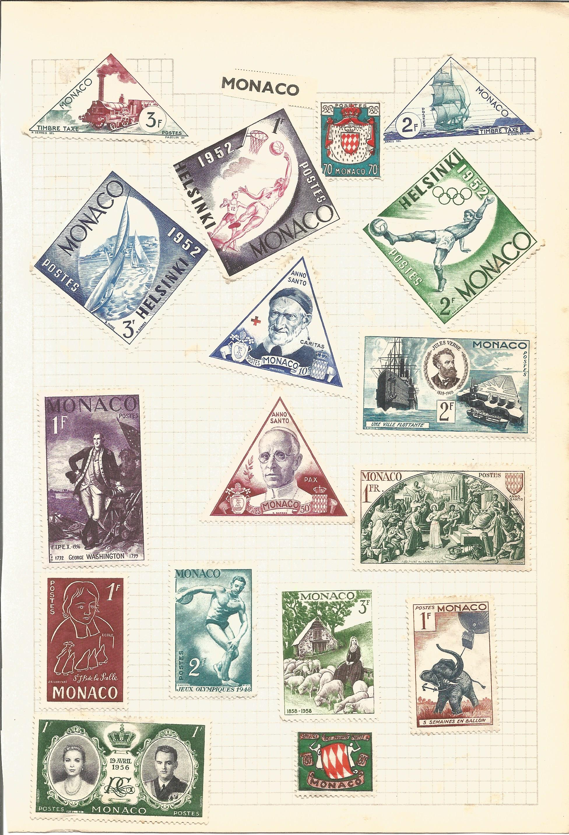 European stamp collection on 4 pages. Includes Monaco, Luxembourg and San Marino. Good condition. We