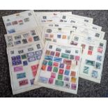 USA and South America stamp collection 16 loose album pages includes countries USA, Argentina and