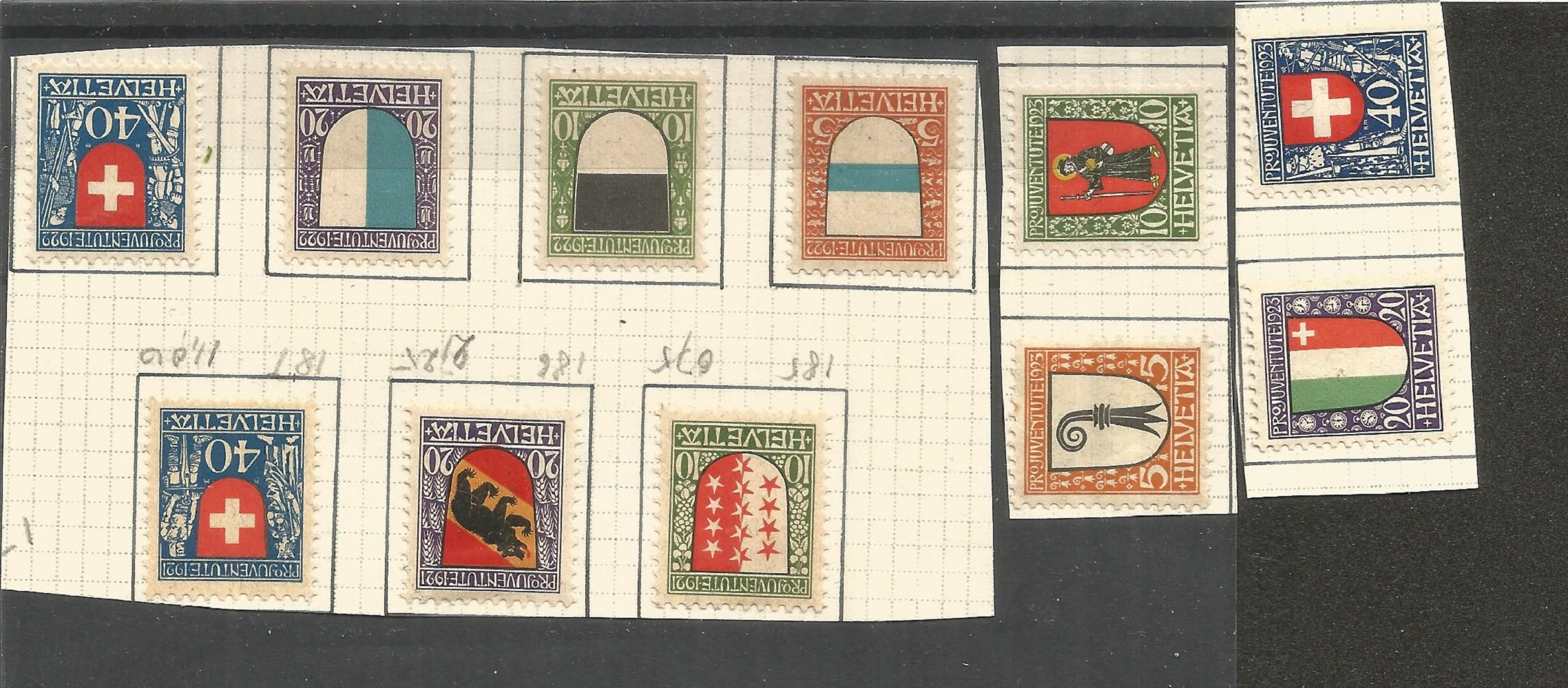Swiss stamp collection. Childrens fund, projuventute charity stamps. All mint. J/17-J/19, J/20-J/23,