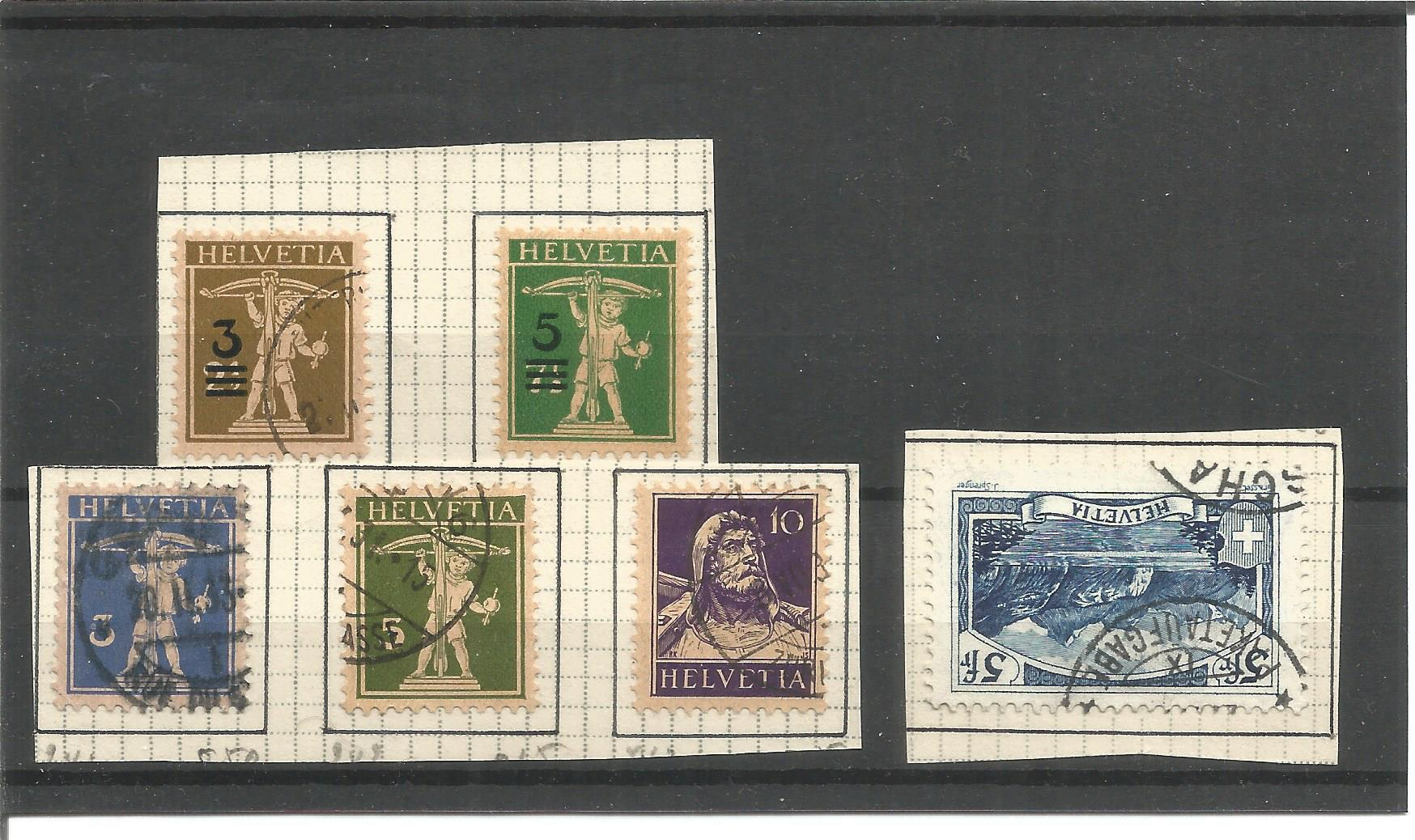 6 Swiss stamps on stockcard. Good condition. We combine postage on multiple winning lots and can