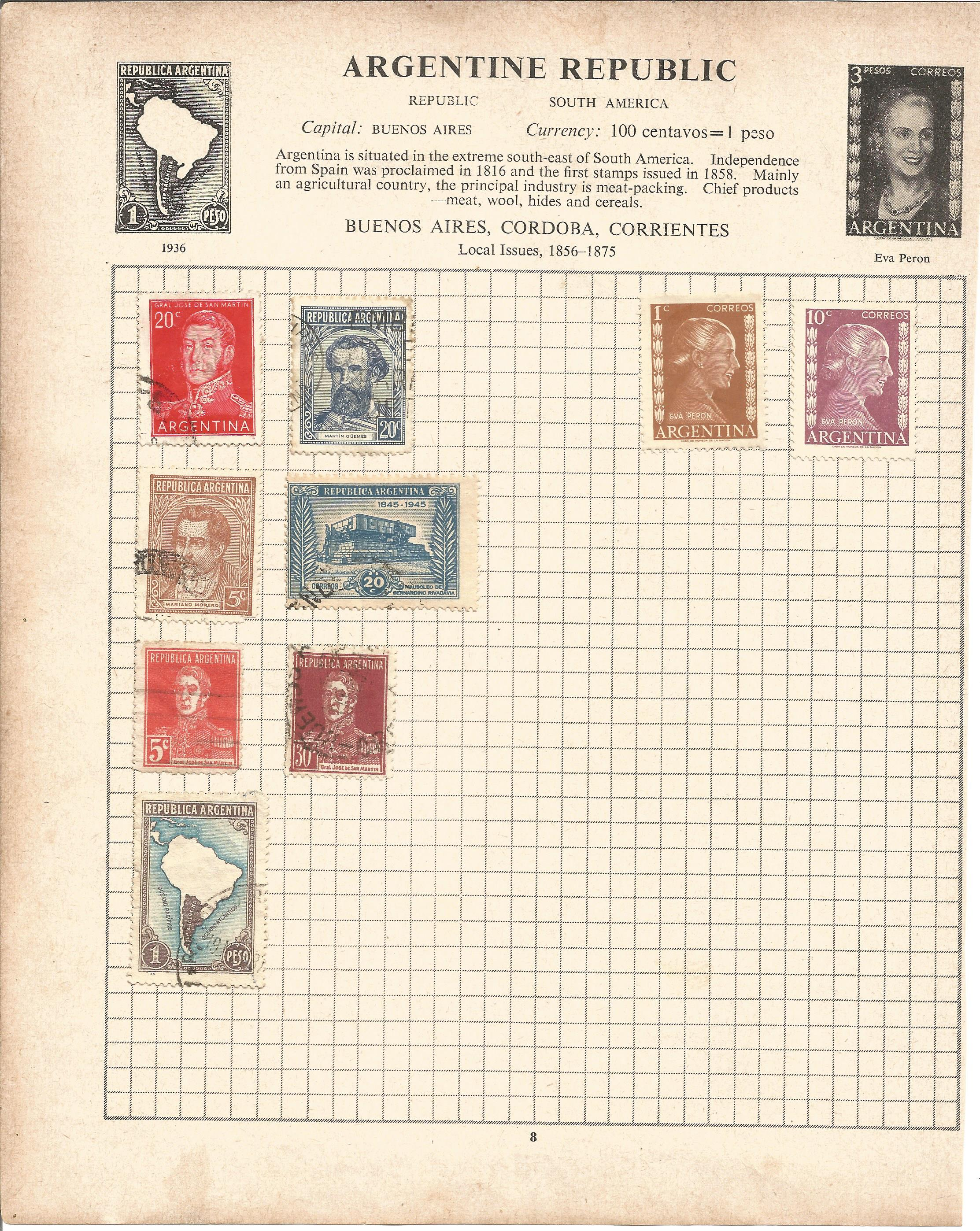 Assorted stamp collection. Includes Argentina, Chile, USA, Hungary, Poland, Romania and Russia on 20
