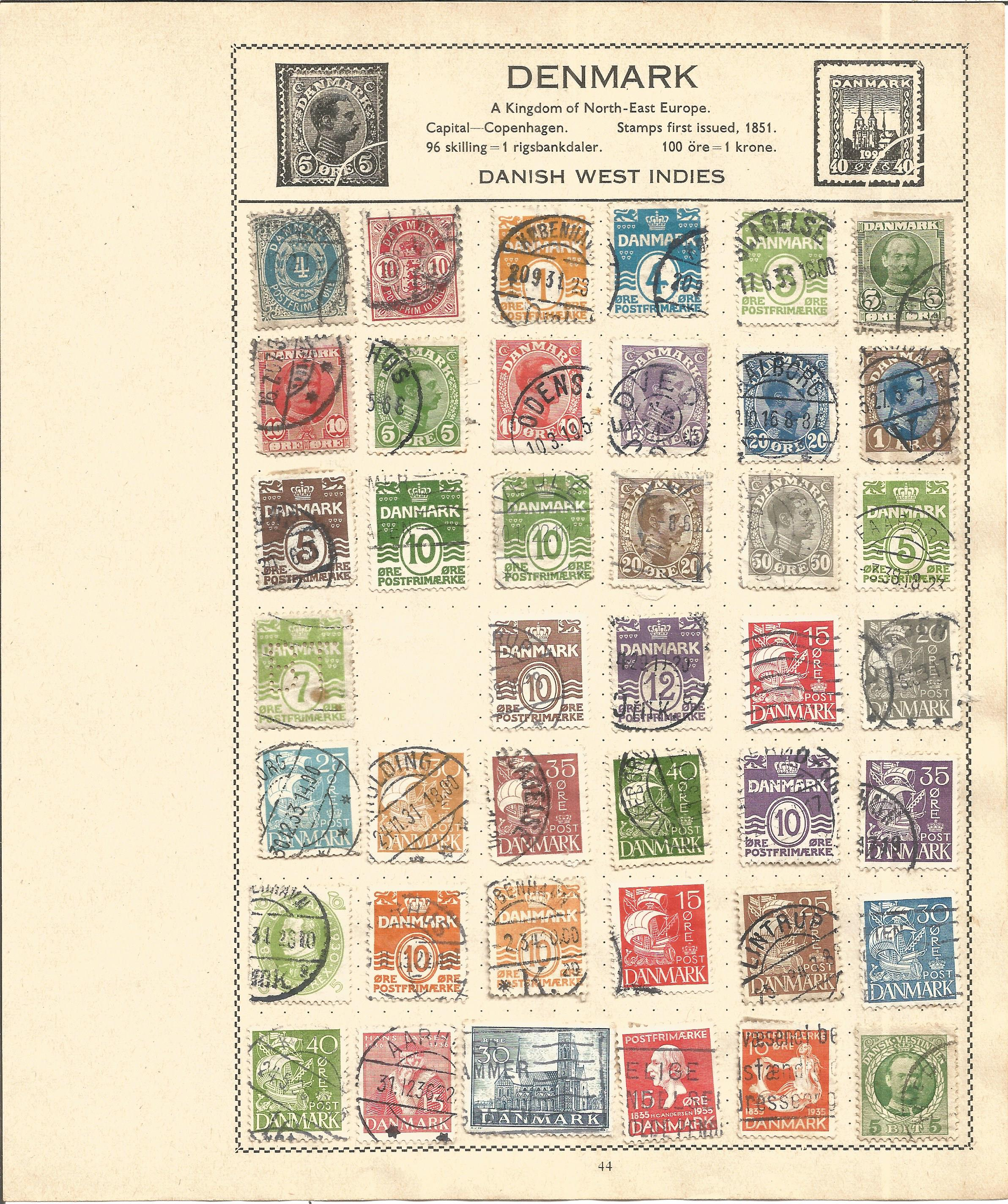 European Stamp collection 5 loose album leaves countries include Denmark and Norway. Good condition.