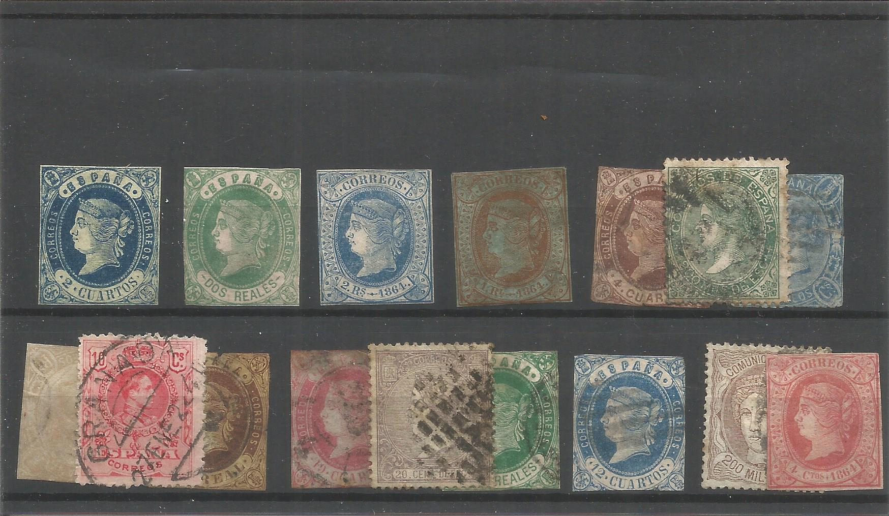 16 Spanish stamps on stockcard. Good condition. We combine postage on multiple winning lots and