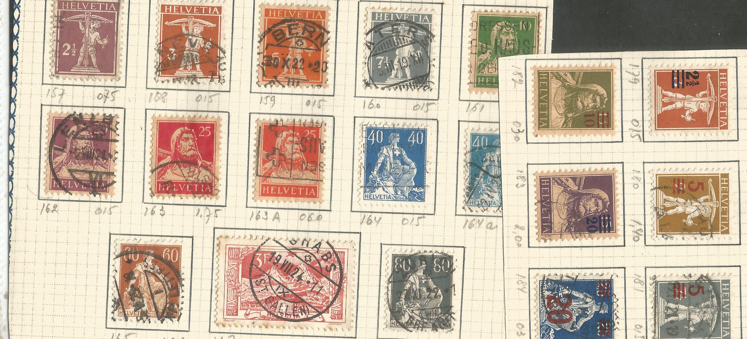 Swiss stamp collection. 22 stamps. 1908/1919. Mint and used. Good condition. We combine postage on