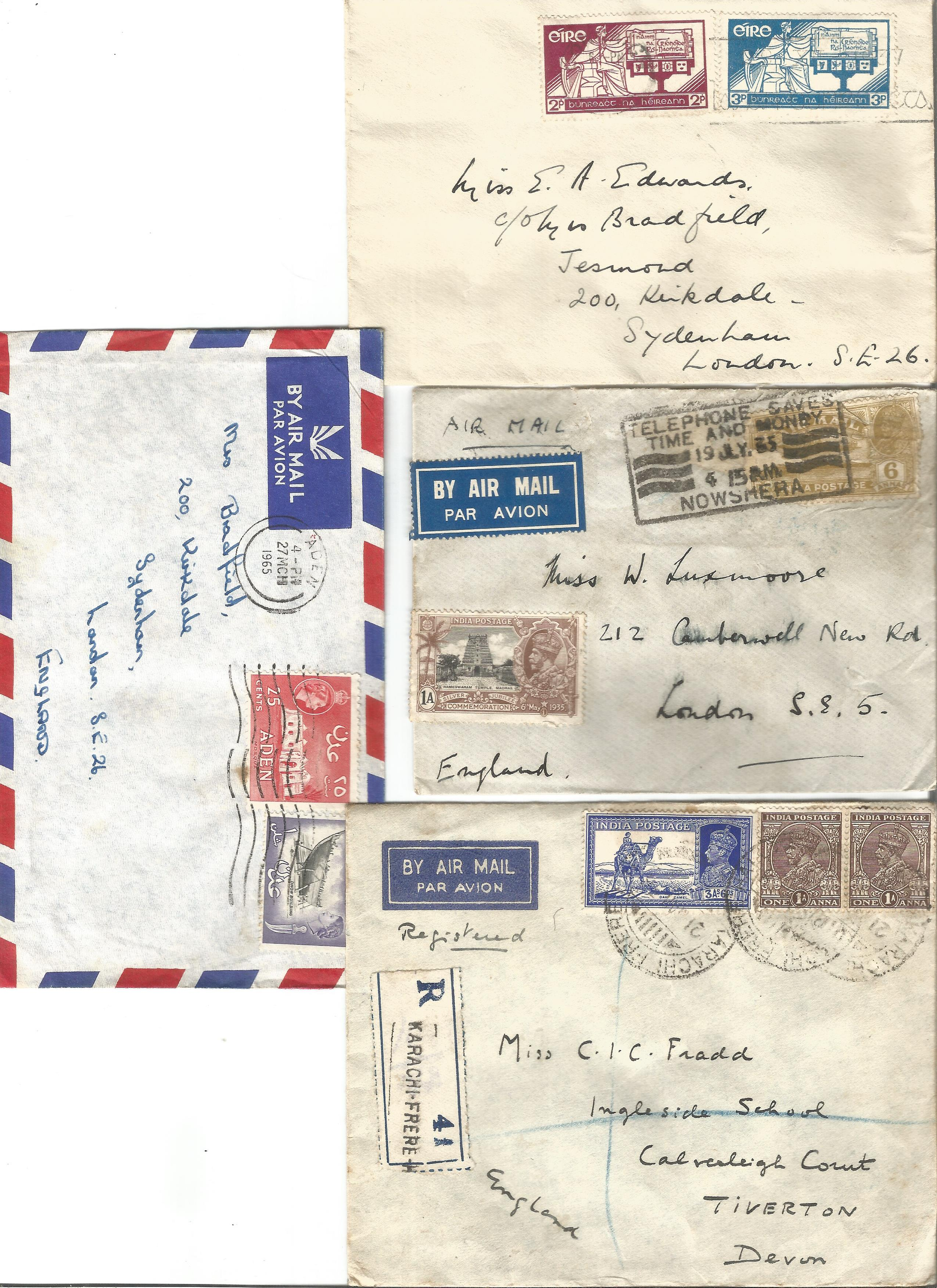 Cover collection. 4 included from Aden, Ireland and India. Good condition. We combine postage on