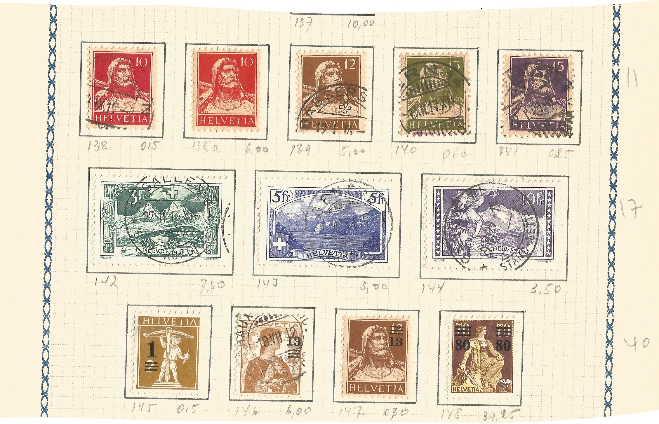 Swiss used stamp collection. 12 stamps. Good condition. We combine postage on multiple winning
