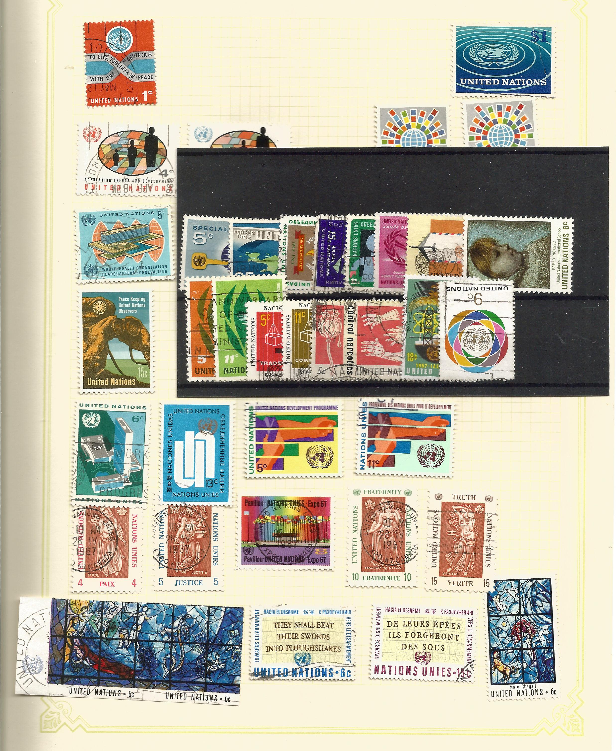 United Nations stamp collection on 12 loose pages and 1 stockcard. Good condition. We combine - Image 2 of 2