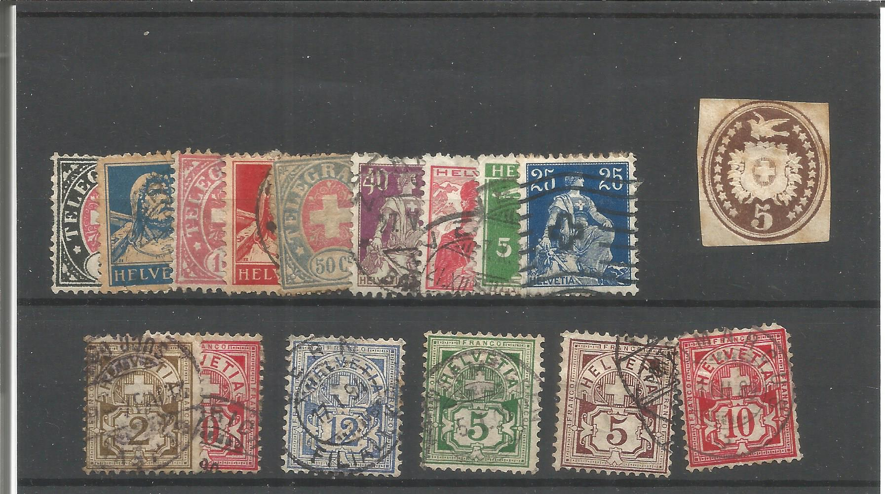 16 Swiss stamps on stockcard. Good condition. We combine postage on multiple winning lots and can