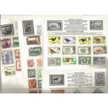 World stamp collection on 10 loose album pages. Includes Ceylon, French Colonies, B Honduras, B