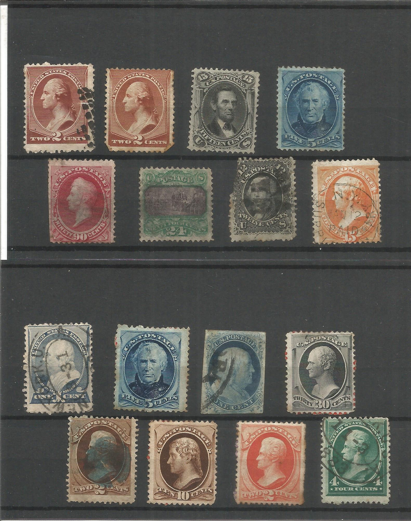 USA stamp collection on 3 stockcards. Good condition. We combine postage on multiple winning lots