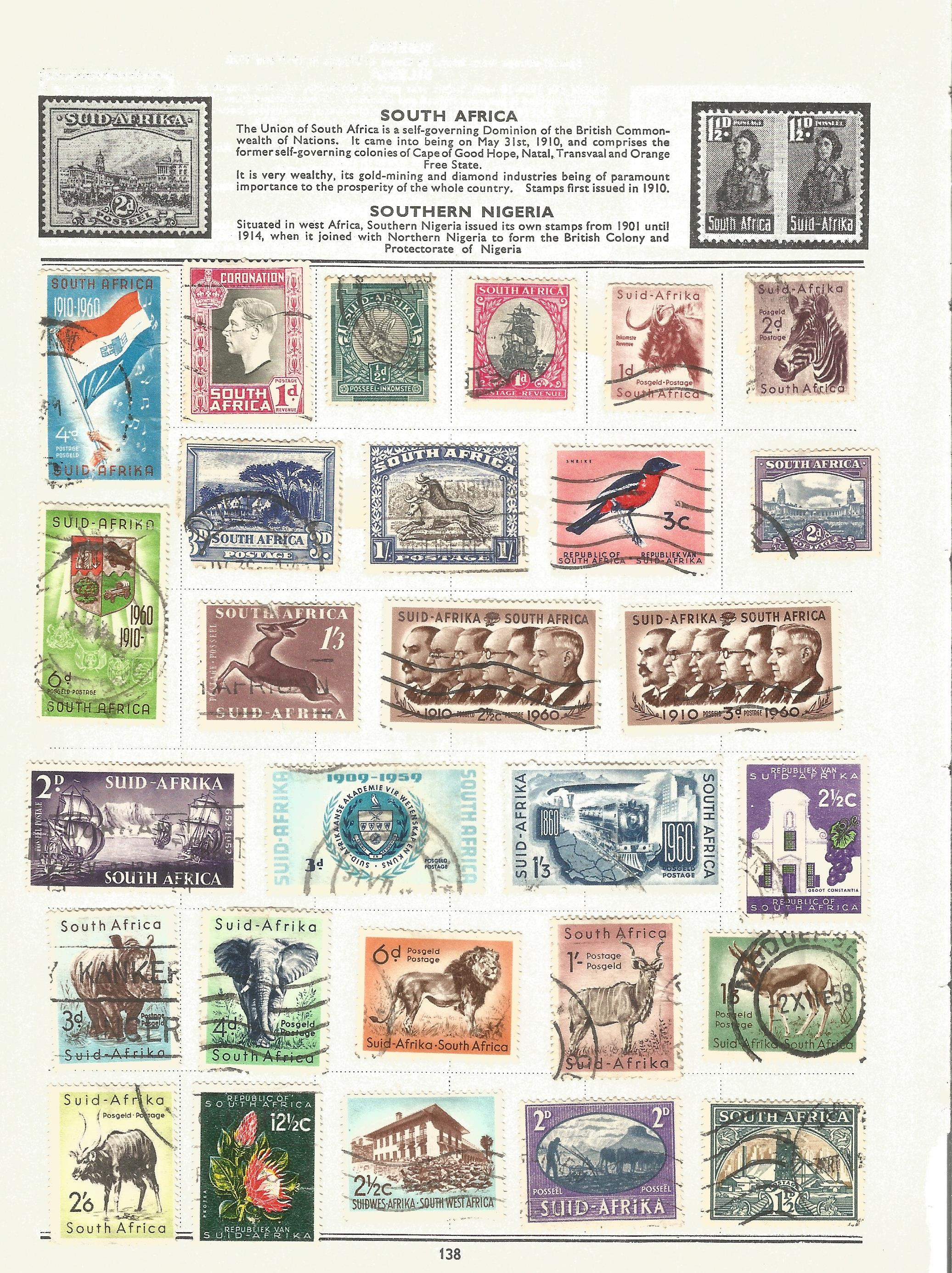 BCW stamp collection on 17 loose pages. Includes stamps from British Virgin Islands, Zanzibar, South