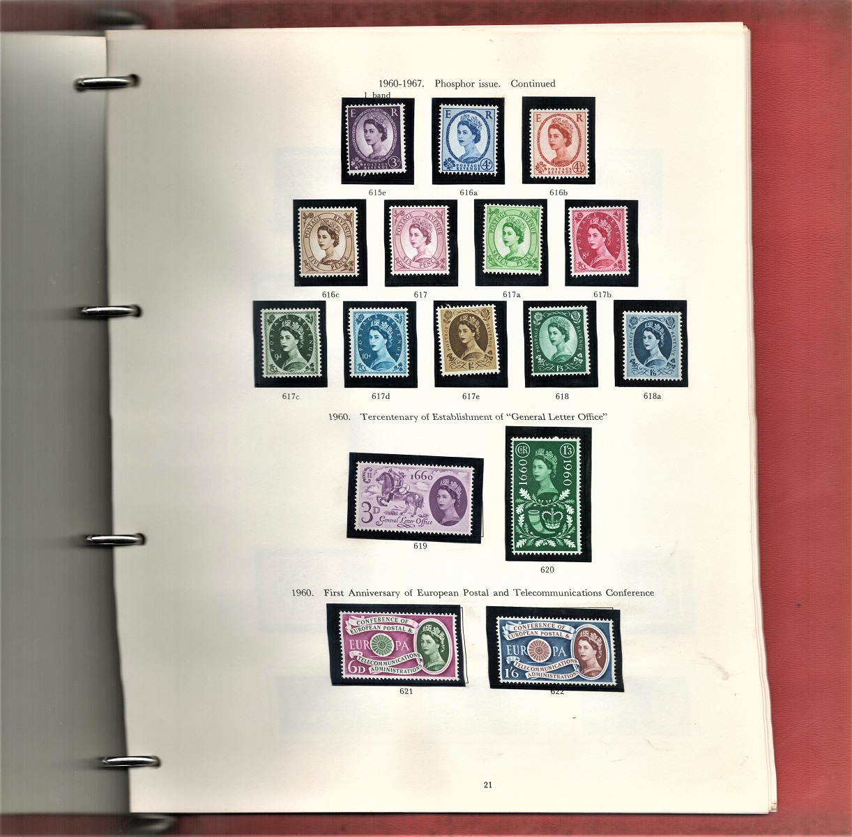 GB stamp album containing mint stamps. Some unmounted. QEII 1955/1968. Includes phosphor issue 3d/ - Image 3 of 3