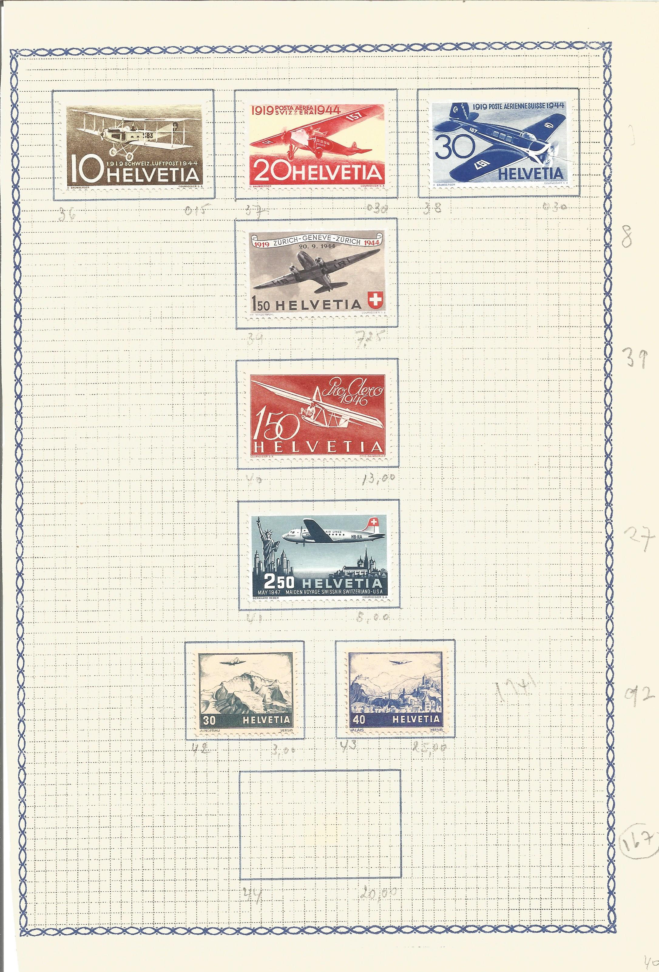 Swiss stamp collection on album page. 8 mint stamps. 1941/1947. Good condition. We combine postage
