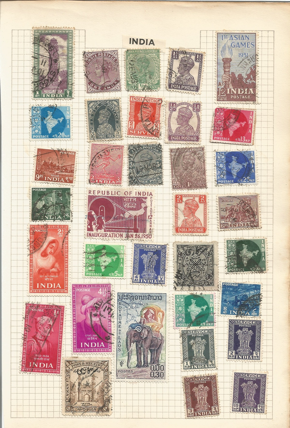 BCW stamp collection on 7 pages. Includes Burma, Ceylon, India and Pakistan. Good condition. We