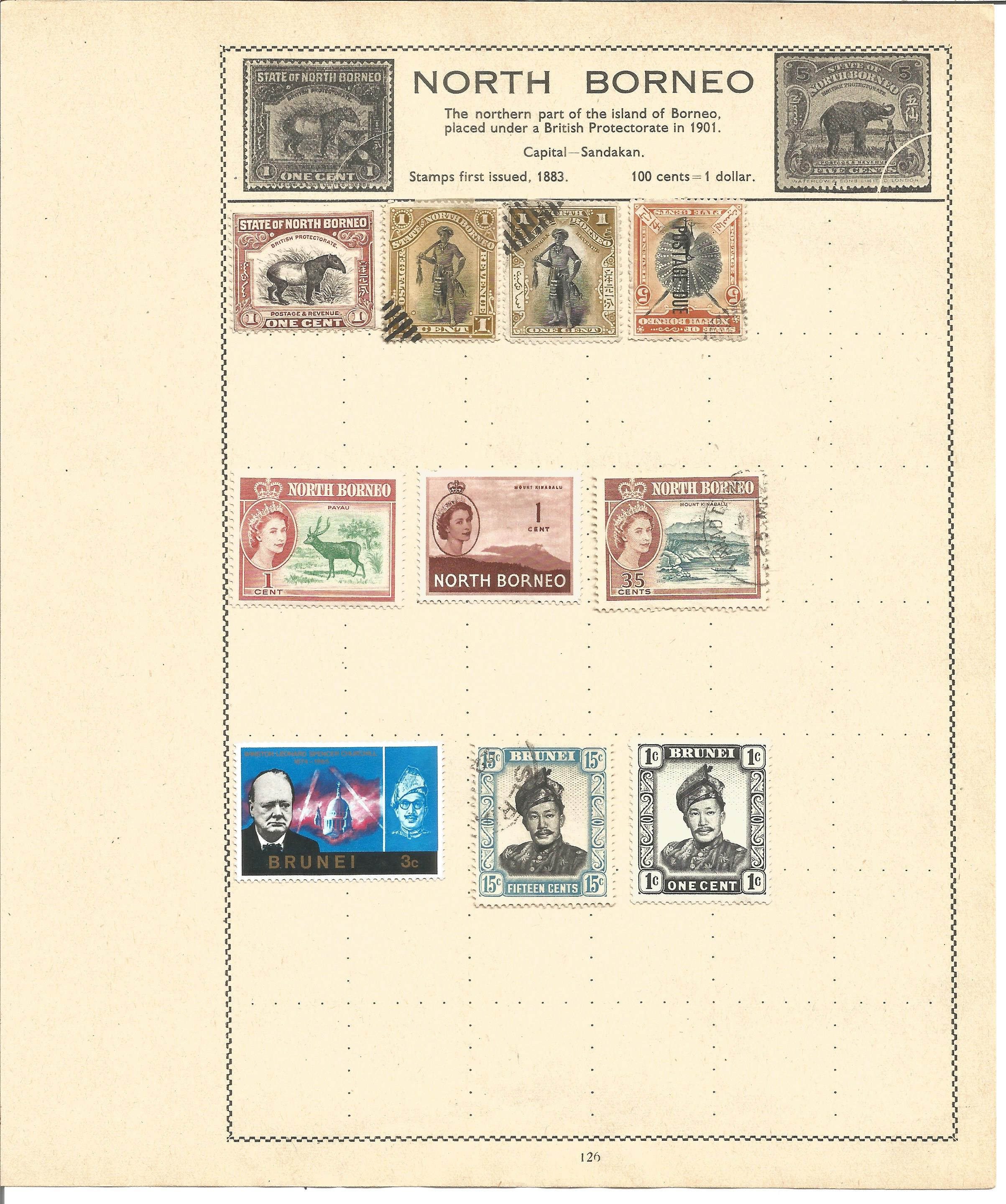 British Commonwealth stamp collection 7 loose album leaves countries include North Borneo,