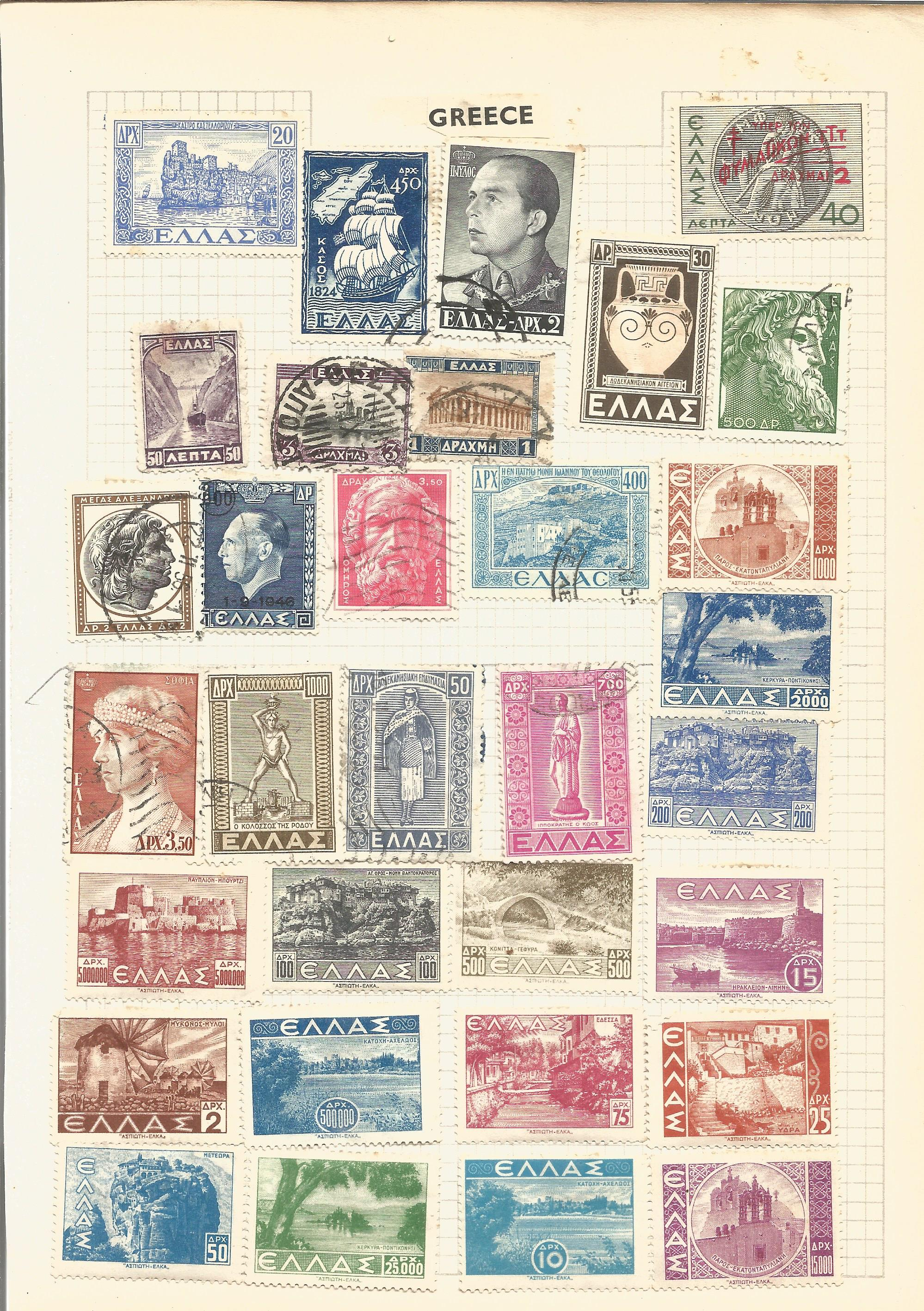 European stamp collection on 8 loose album pages. Contains Belgium, Greece, Italy, Denmark and