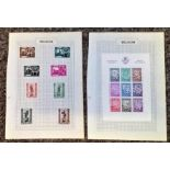 Belgium stamp collection 2 loose album pages mint stamps includes MS910 miniature sheet 1940