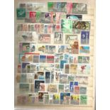 World stamp collection in large brown stock book. 16 pages. Includes BCW, Sweden minisheet,
