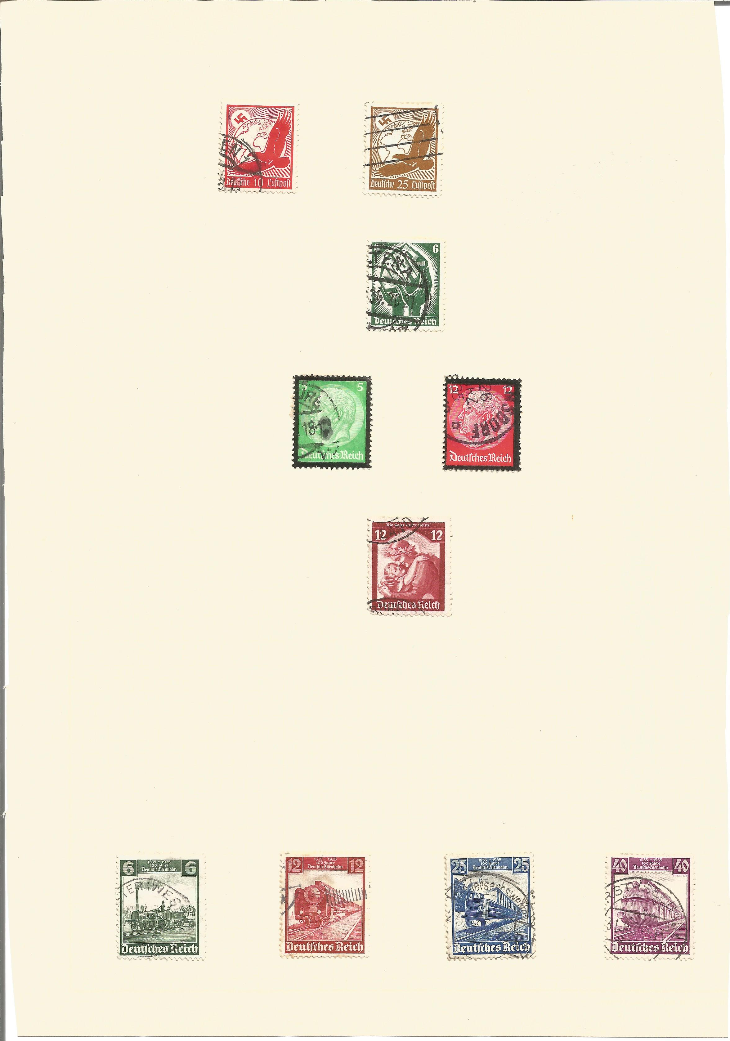 German stamp collection on 2 pages. 3rd Reich. Good condition. We combine postage on multiple