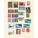 Overseas stamp collection on 23 loose pages. Includes GB, USA, Siam, Malta, France and Guernsey.