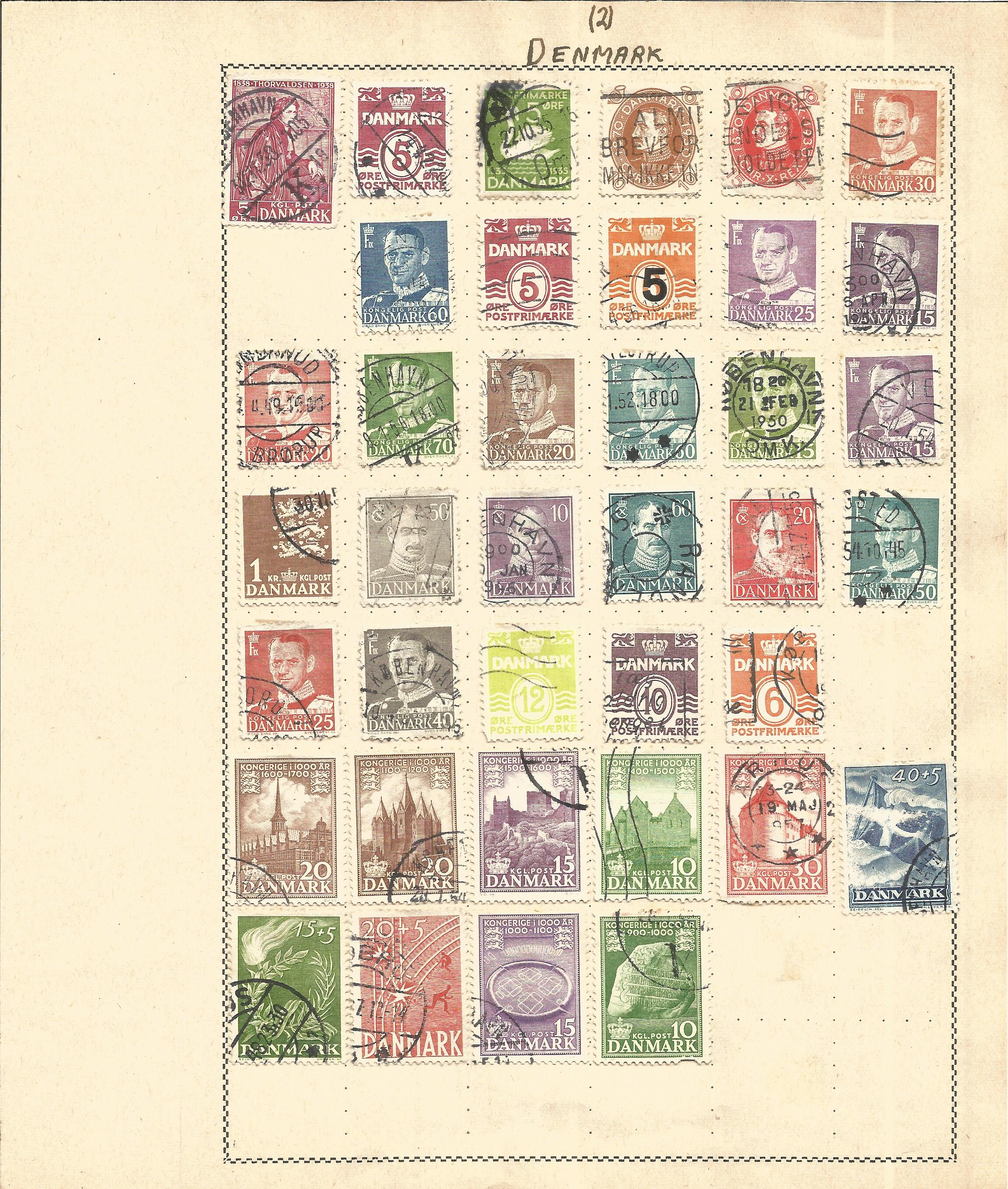 European Stamp collection 5 loose album leaves countries include Denmark and Norway. Good condition. - Image 2 of 3