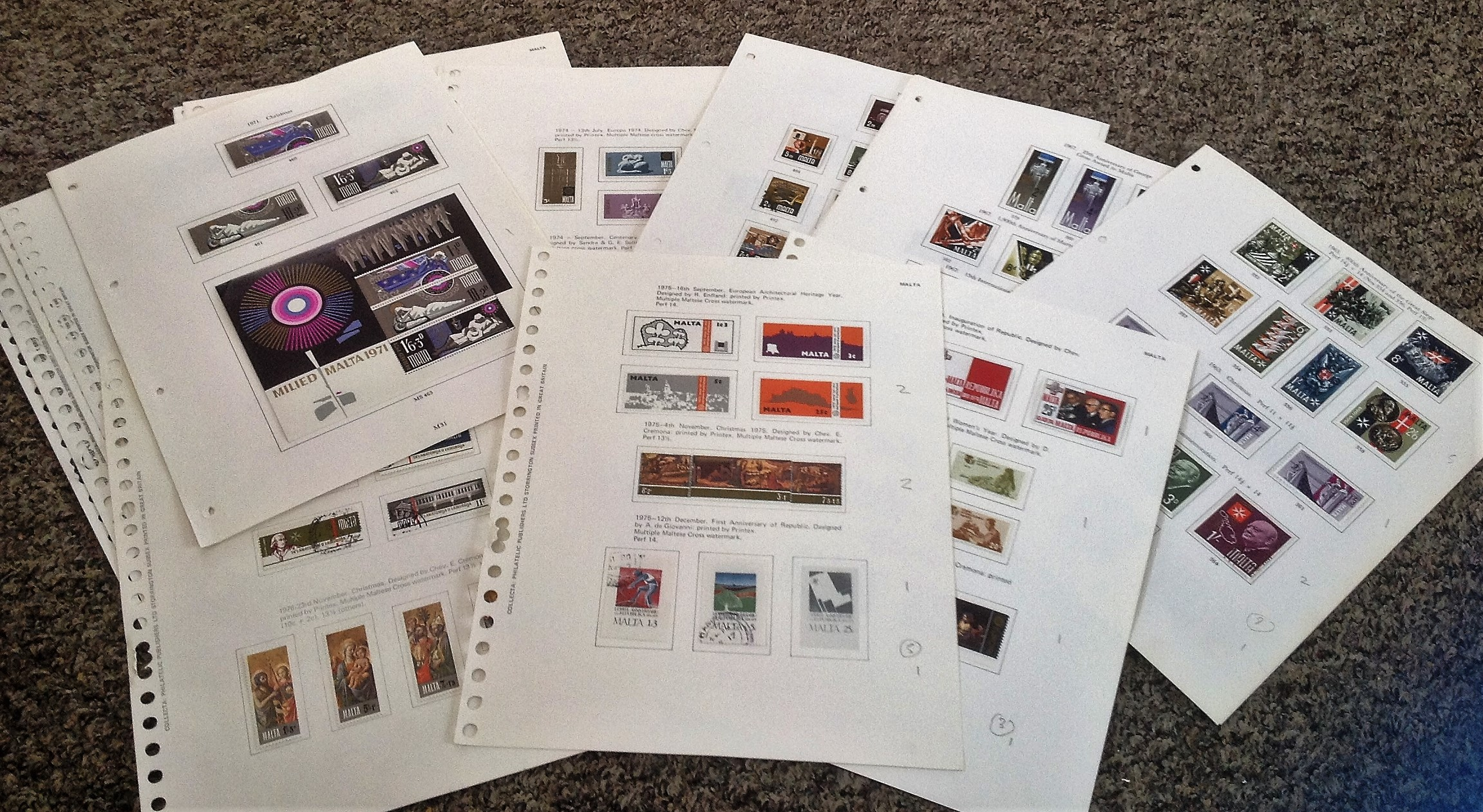 Malta Stamp collection 35 loose album pages dating 1965 to 1980. Good condition. We combine