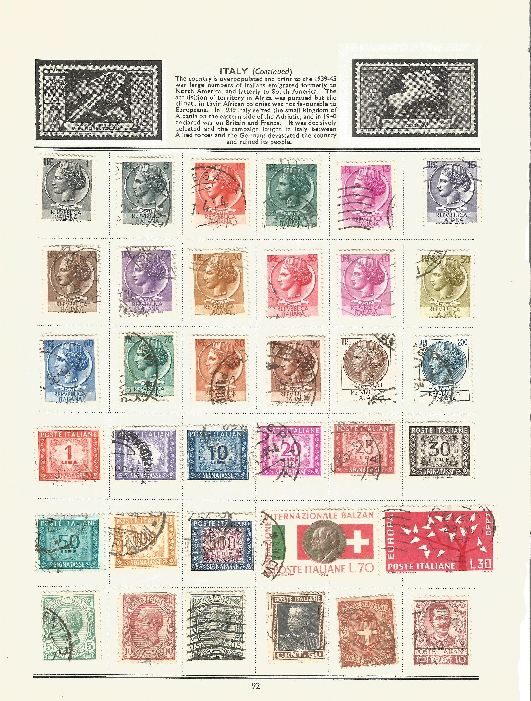 Foreign stamp collection on 16 loose album pages. Includes Italy, Netherlands, Norway, Portugal - Image 2 of 4